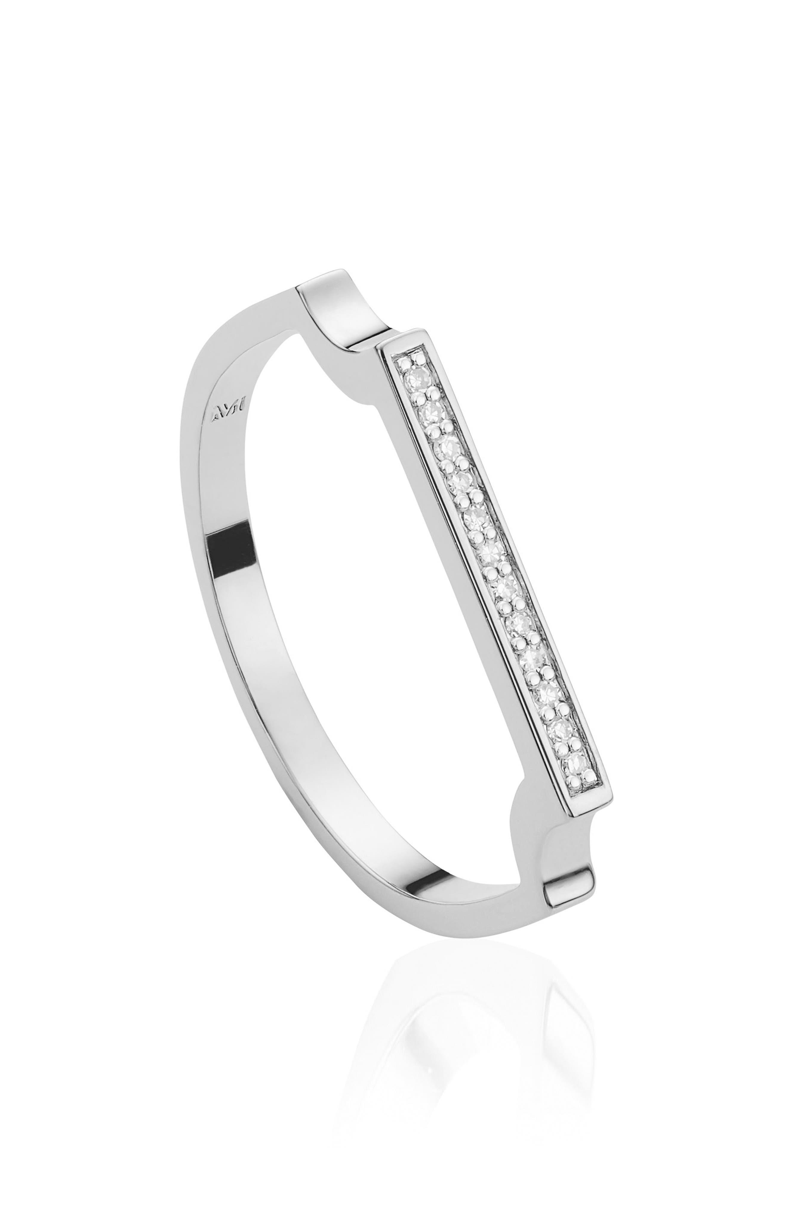 MONICA VINADER, Signature Thin Diamond Ring, Alternate thumbnail 2, color, SILVER/ DIAMOND