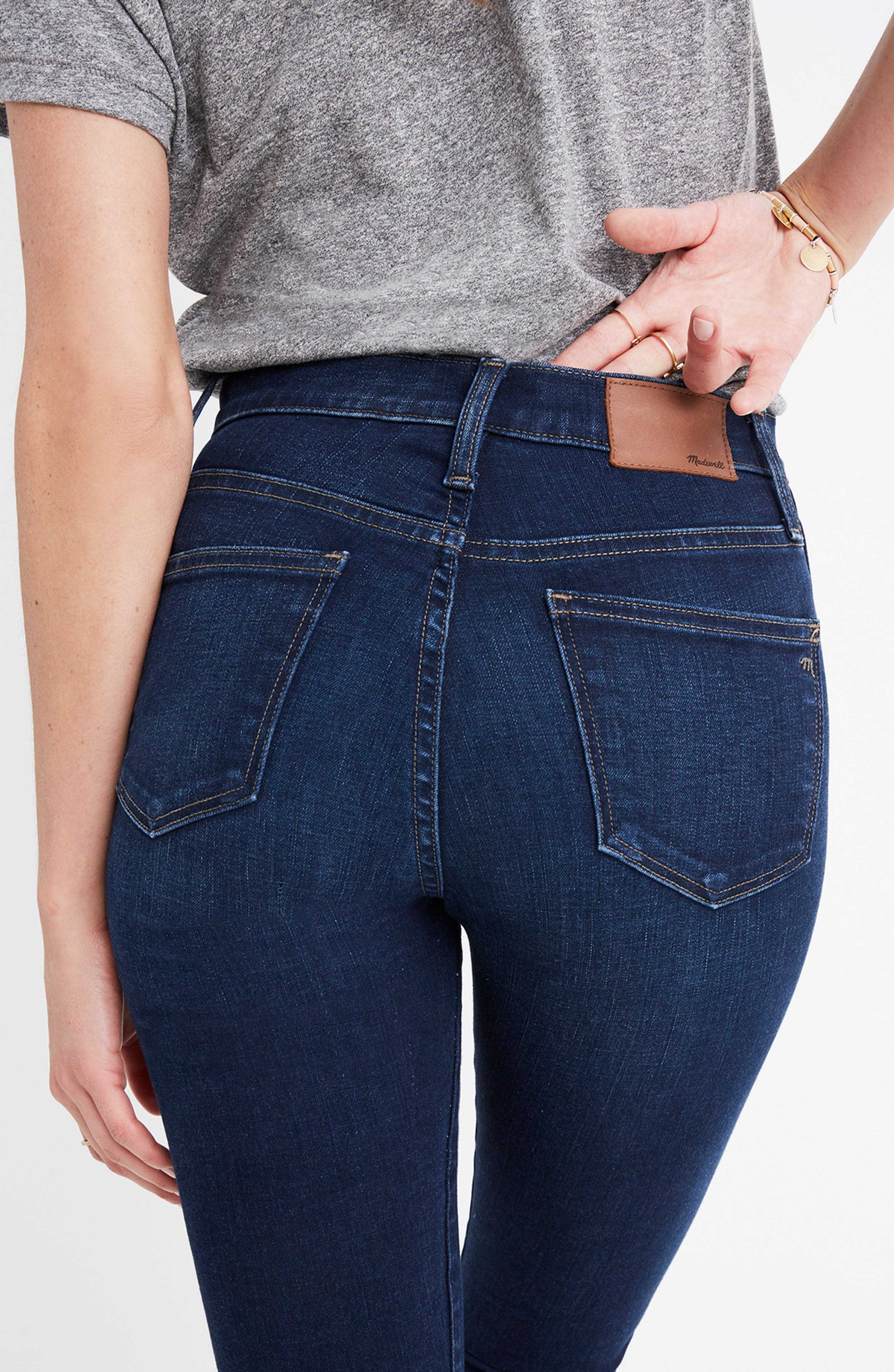 MADEWELL, 10-Inch High Rise Skinny Jeans, Alternate thumbnail 13, color, HAYES WASH