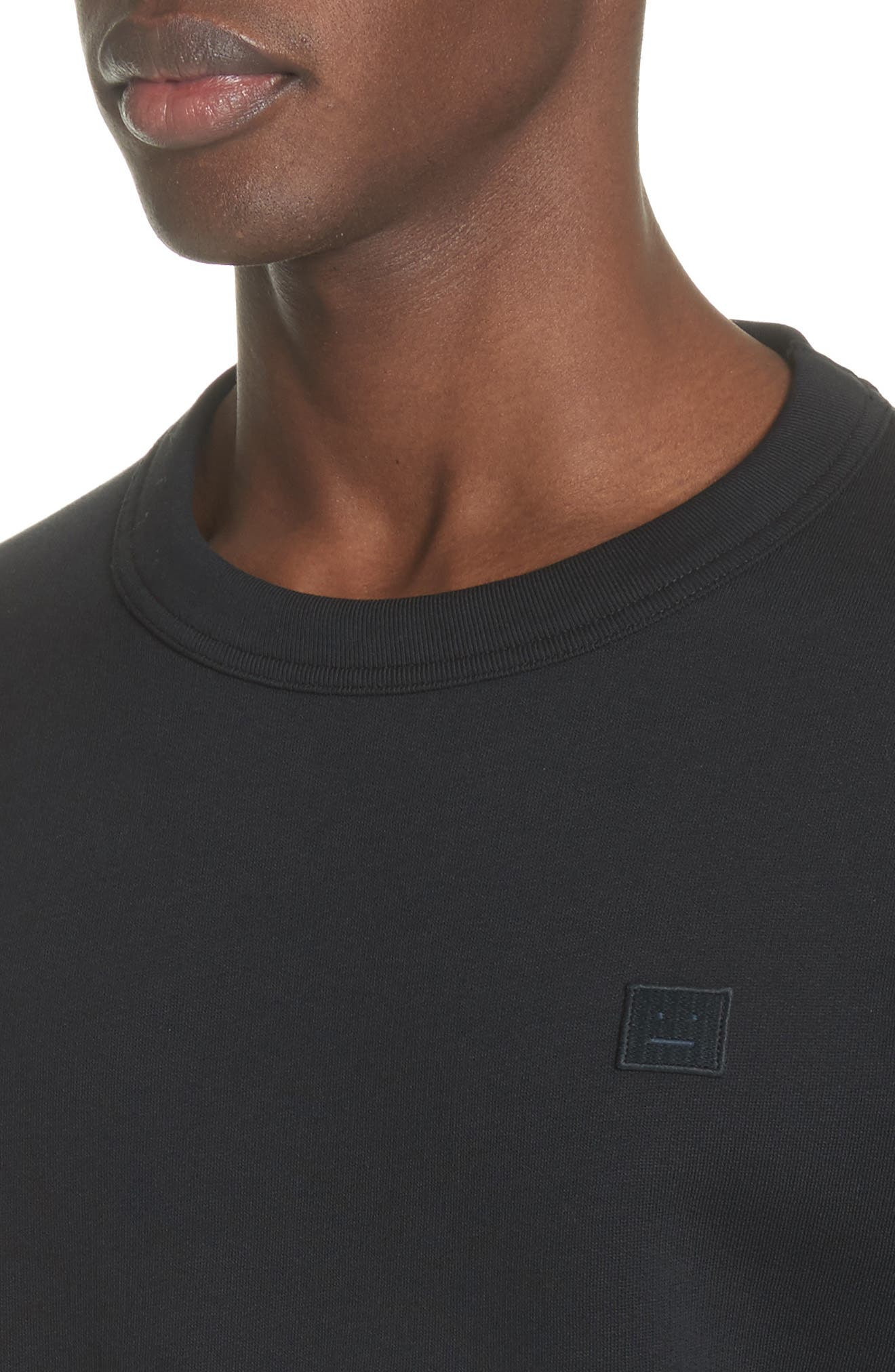 ACNE STUDIOS, Fairview Face Crewneck Sweatshirt, Alternate thumbnail 4, color, BLACK