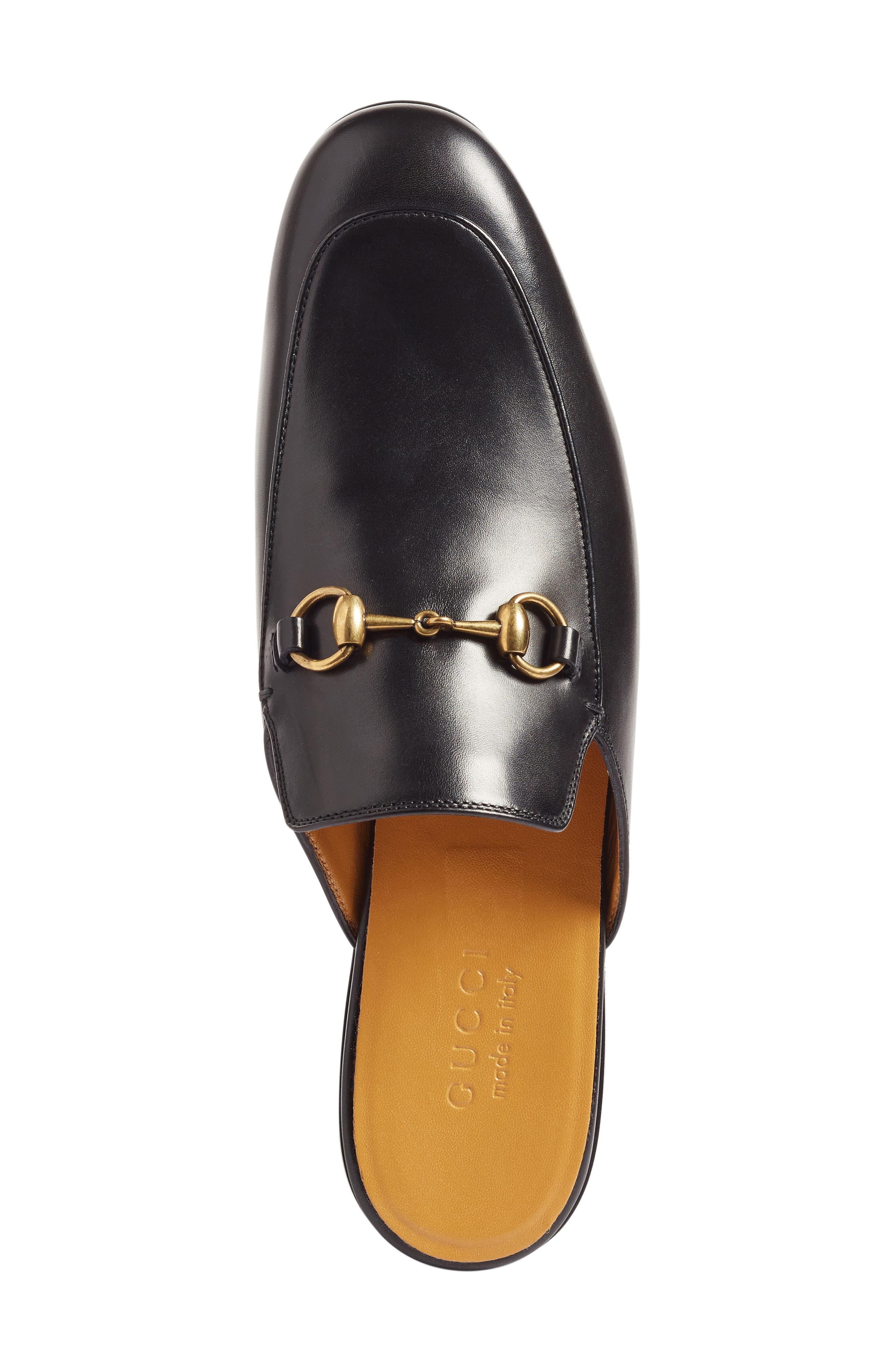 GUCCI, Straw Kings Slipper, Alternate thumbnail 3, color, NERO LEATHER