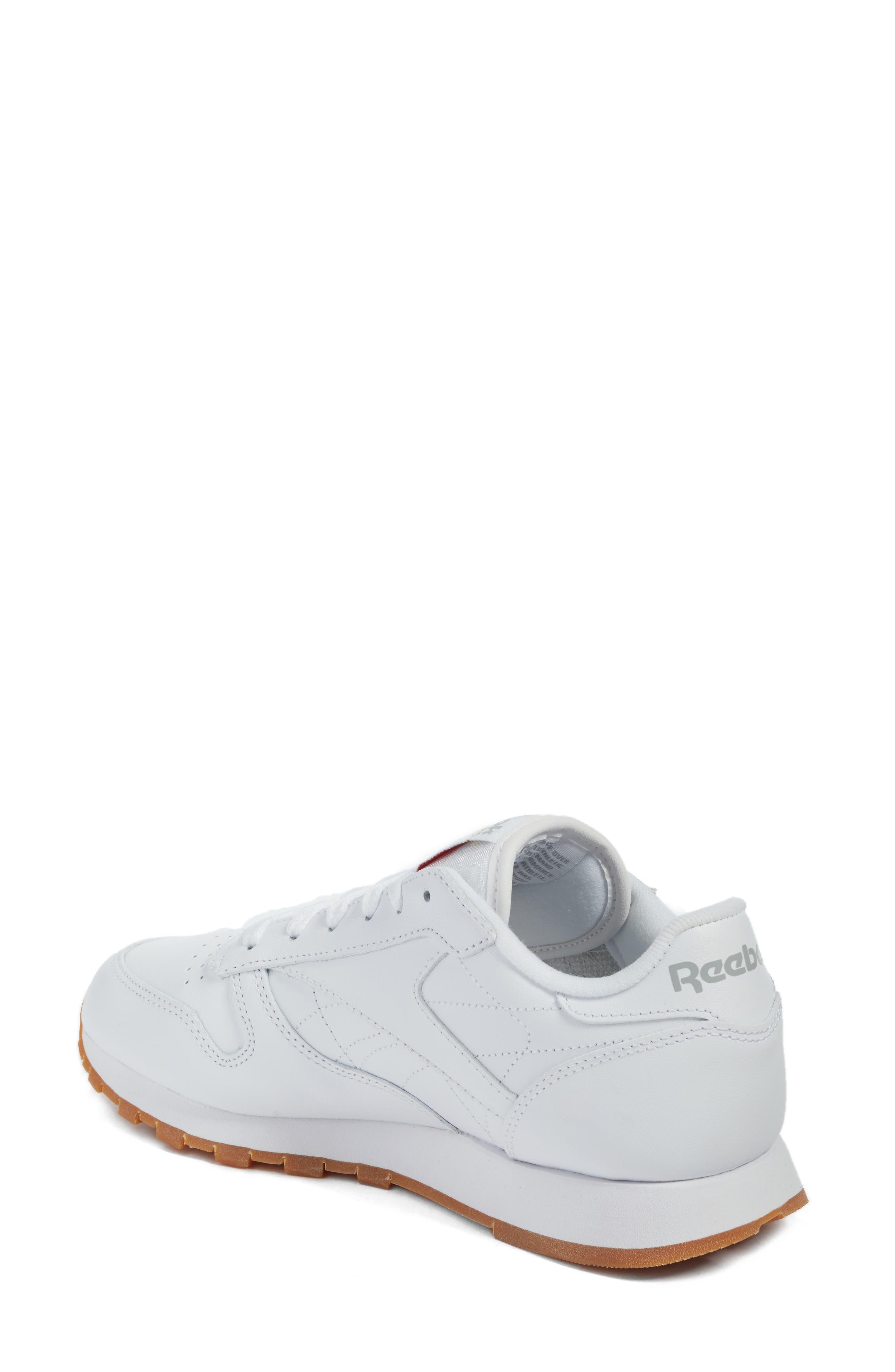 REEBOK, Classic Leather Sneaker, Alternate thumbnail 2, color, US-WHITE/ GUM