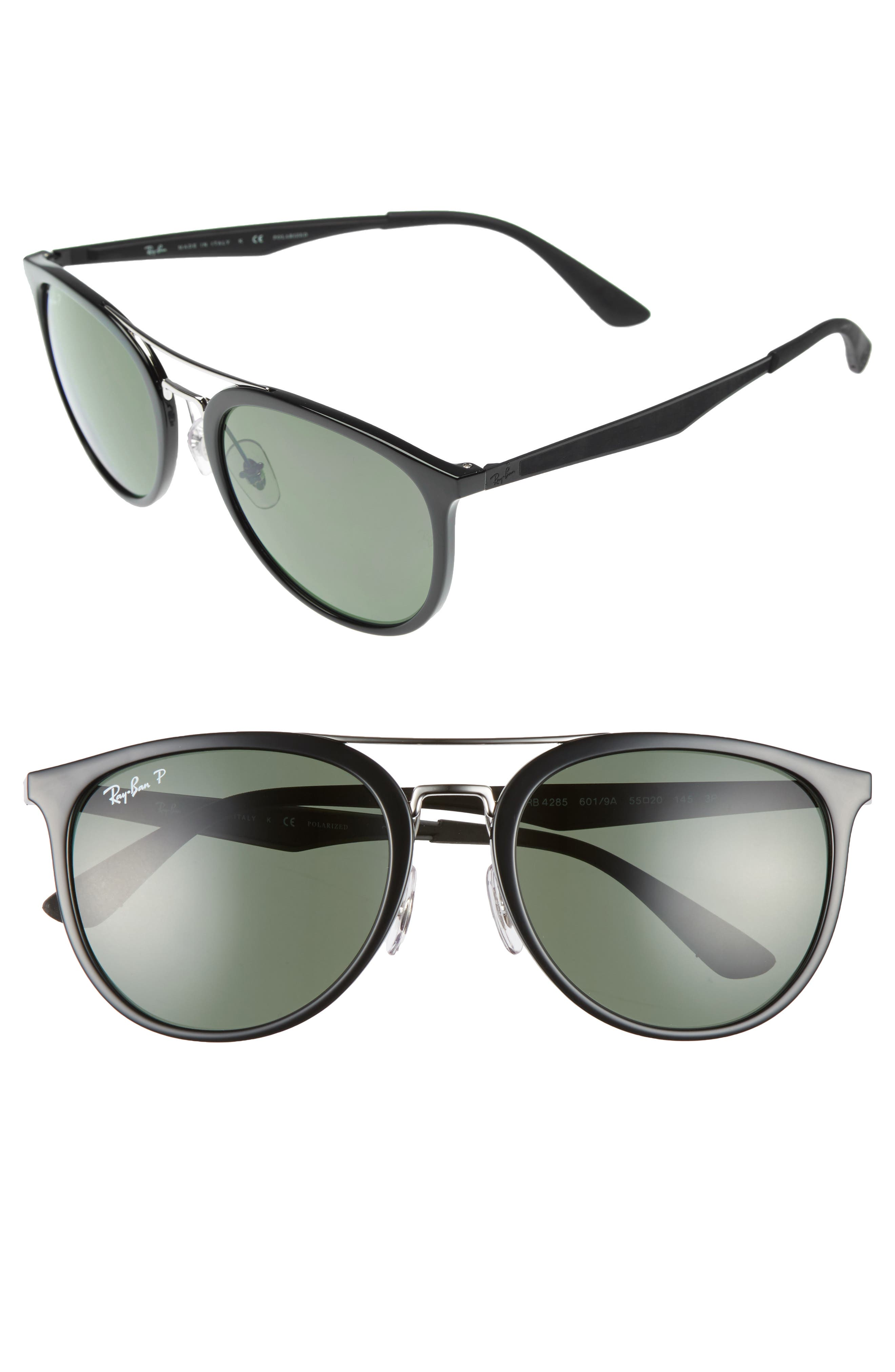 RAY-BAN 55mm Polarized Sunglasses, Main, color, BLACK