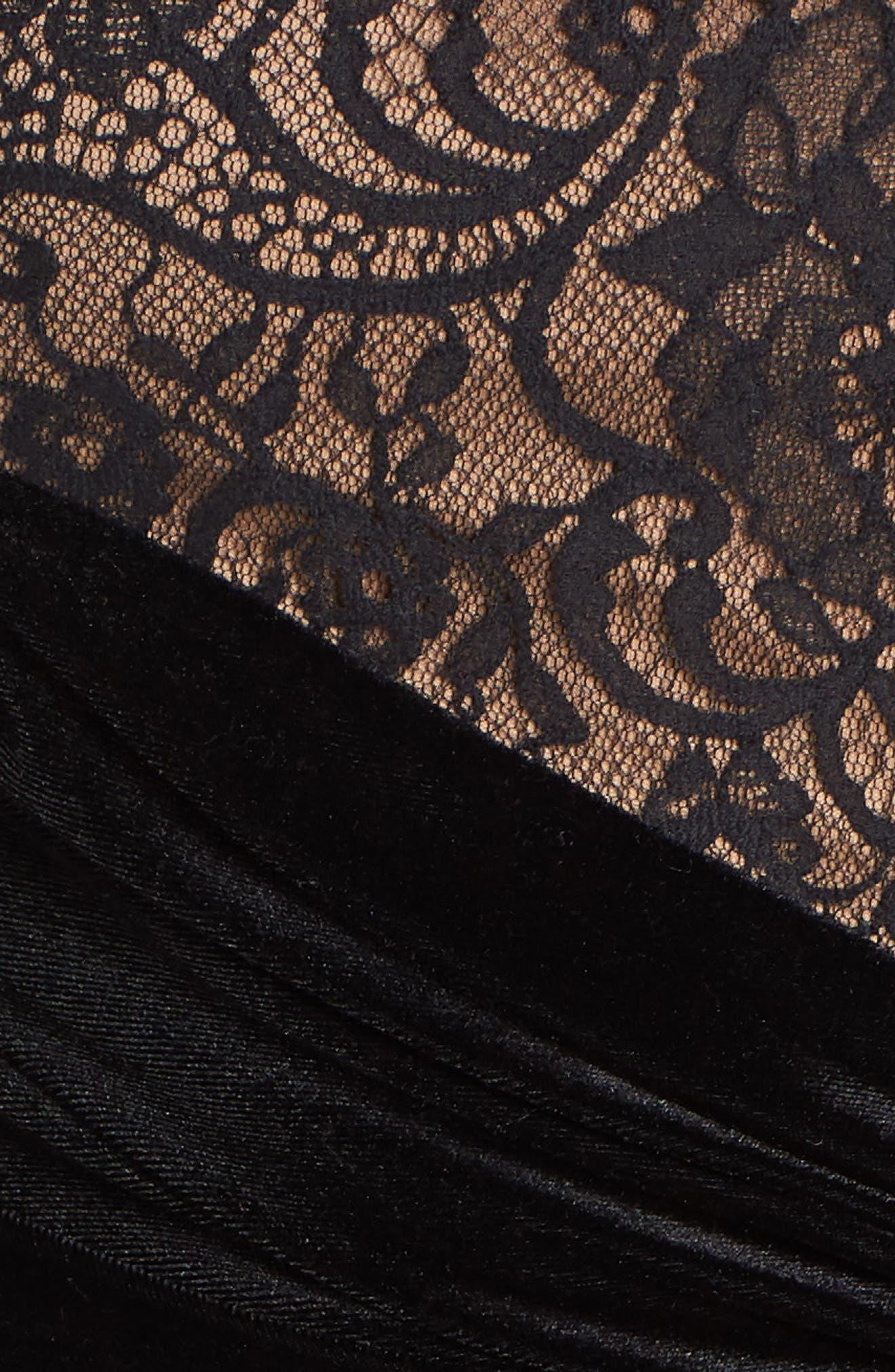 TADASHI SHOJI, T by Tadashi Lace & Velvet Sheath Dress, Alternate thumbnail 6, color, 001