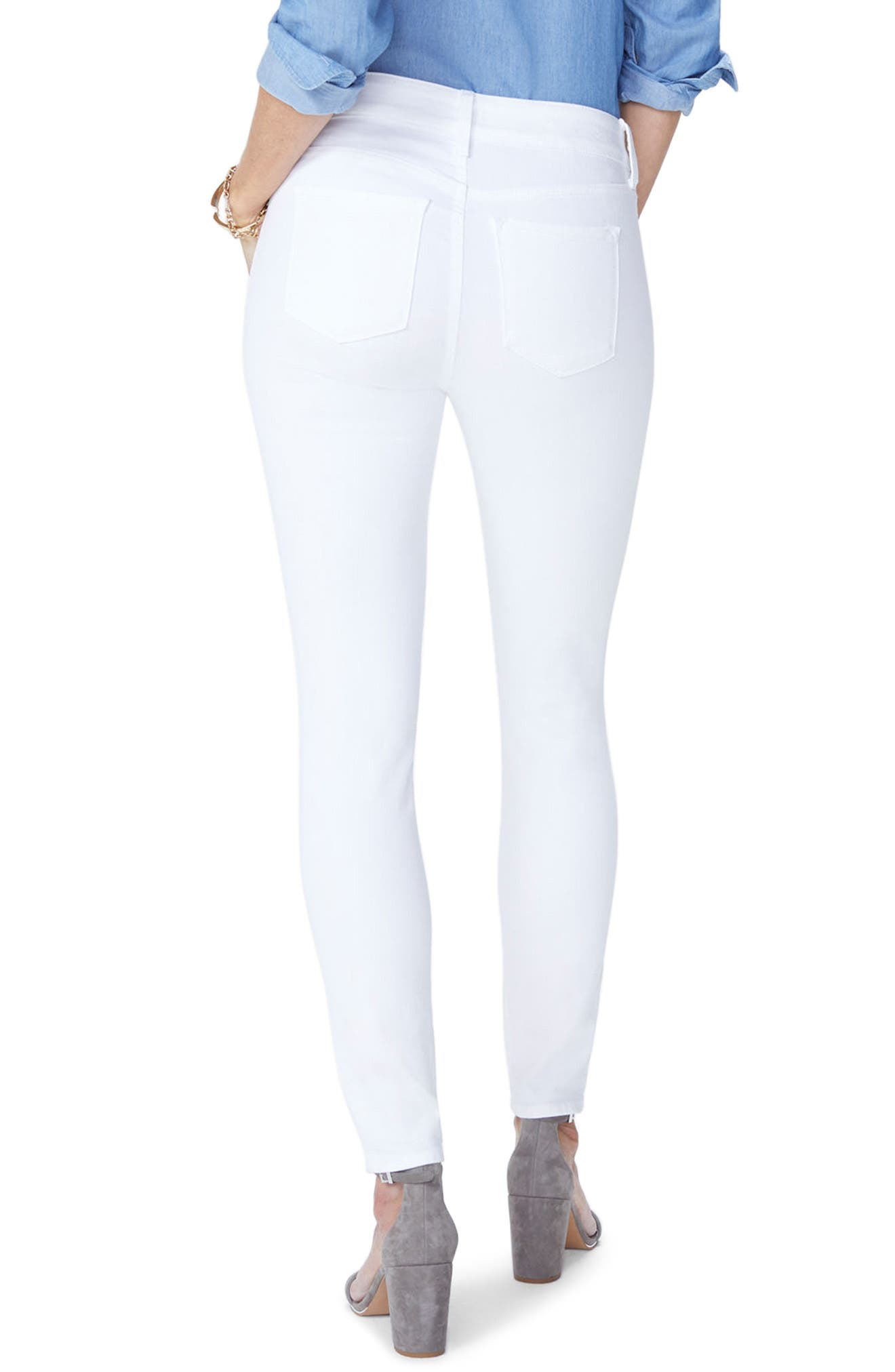 NYDJ, Ami Ankle Skinny Jeans, Alternate thumbnail 2, color, OPTIC WHITE