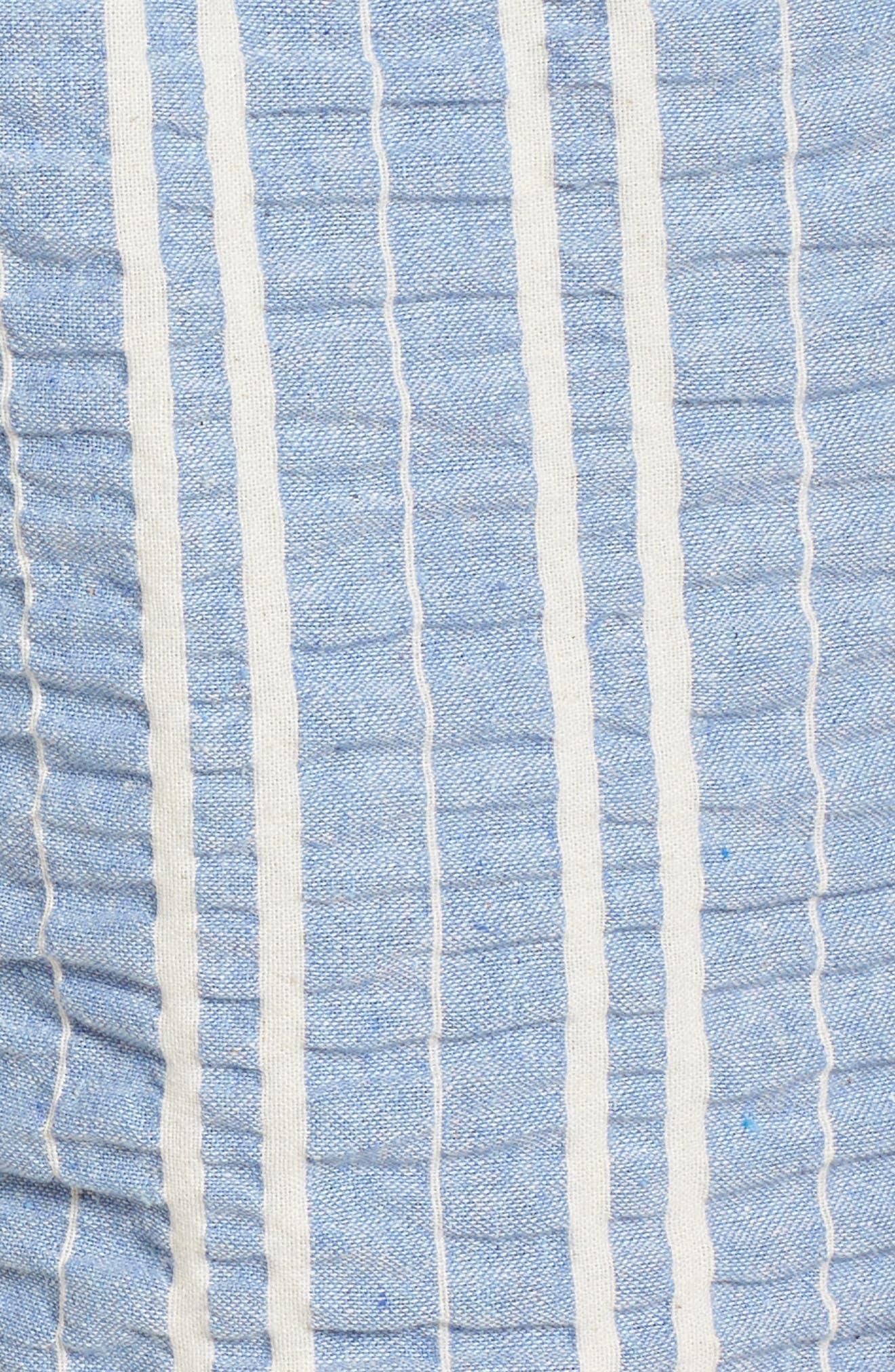 LOST + WANDER, Waves Stripe Tie Front Romper, Alternate thumbnail 5, color, 466