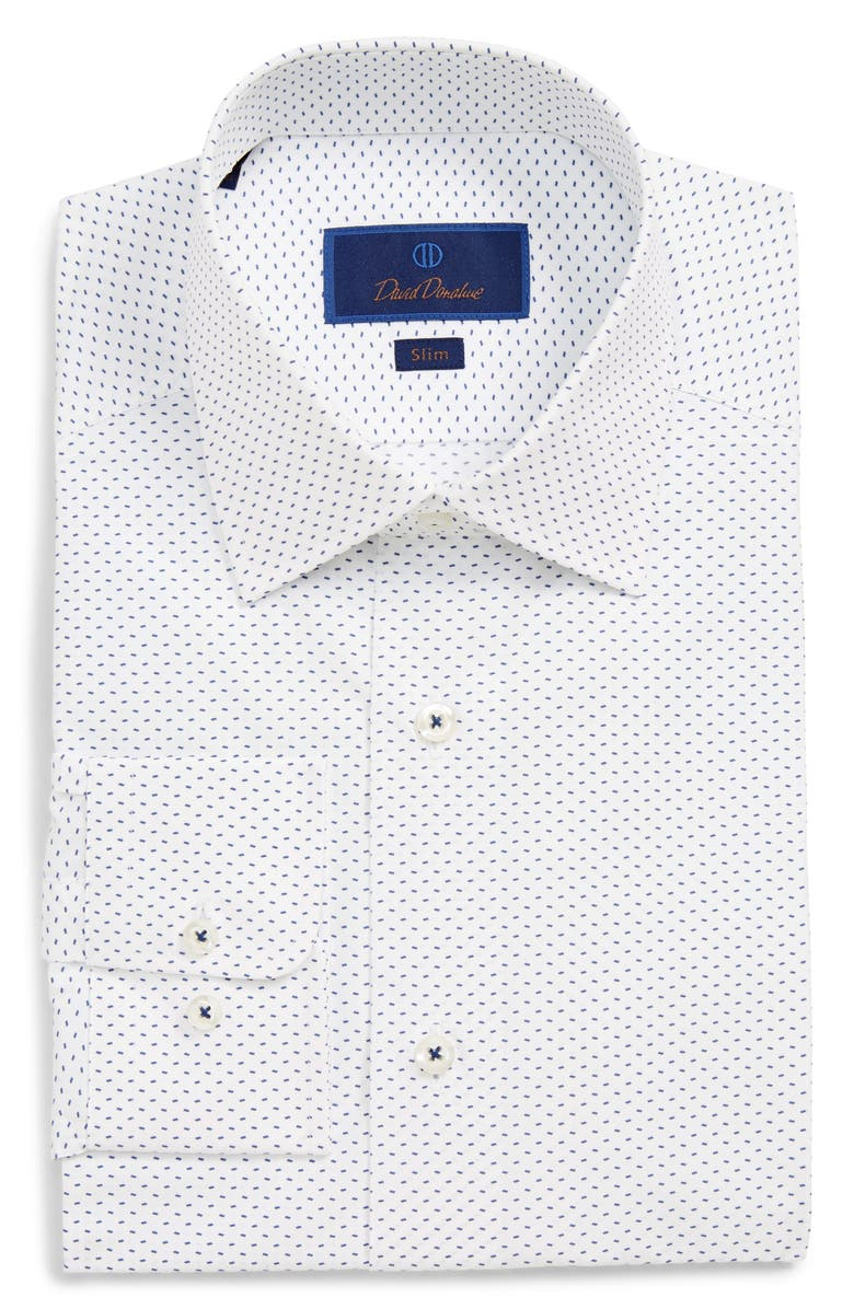 David Donahue Dresses SLIM FIT PRINT DRESS SHIRT