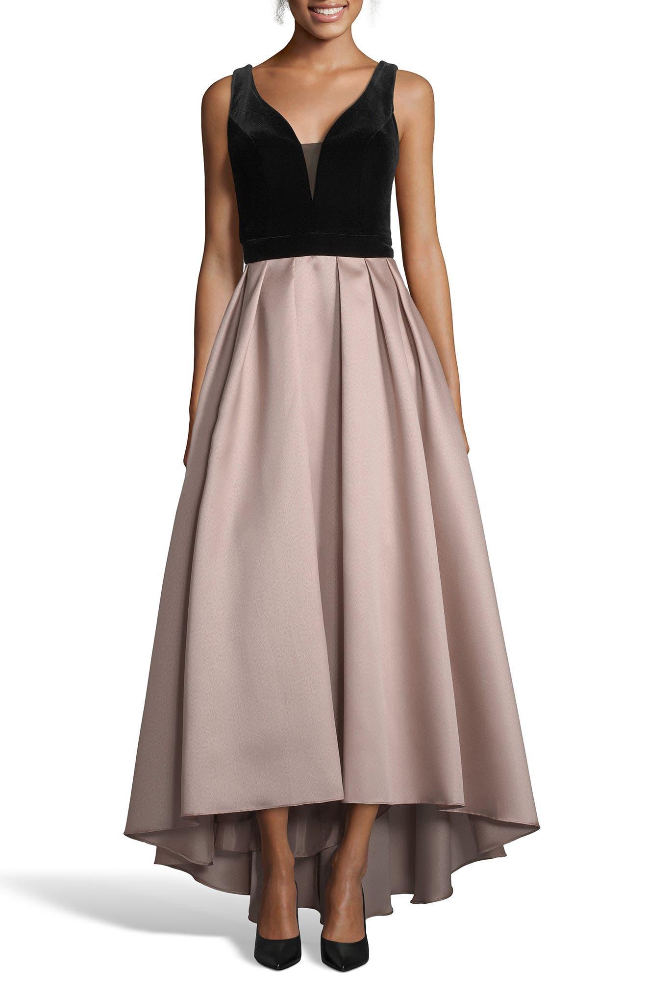 XSCAPE Mikado Velvet Bodice Ball Gown, Main, color, 250