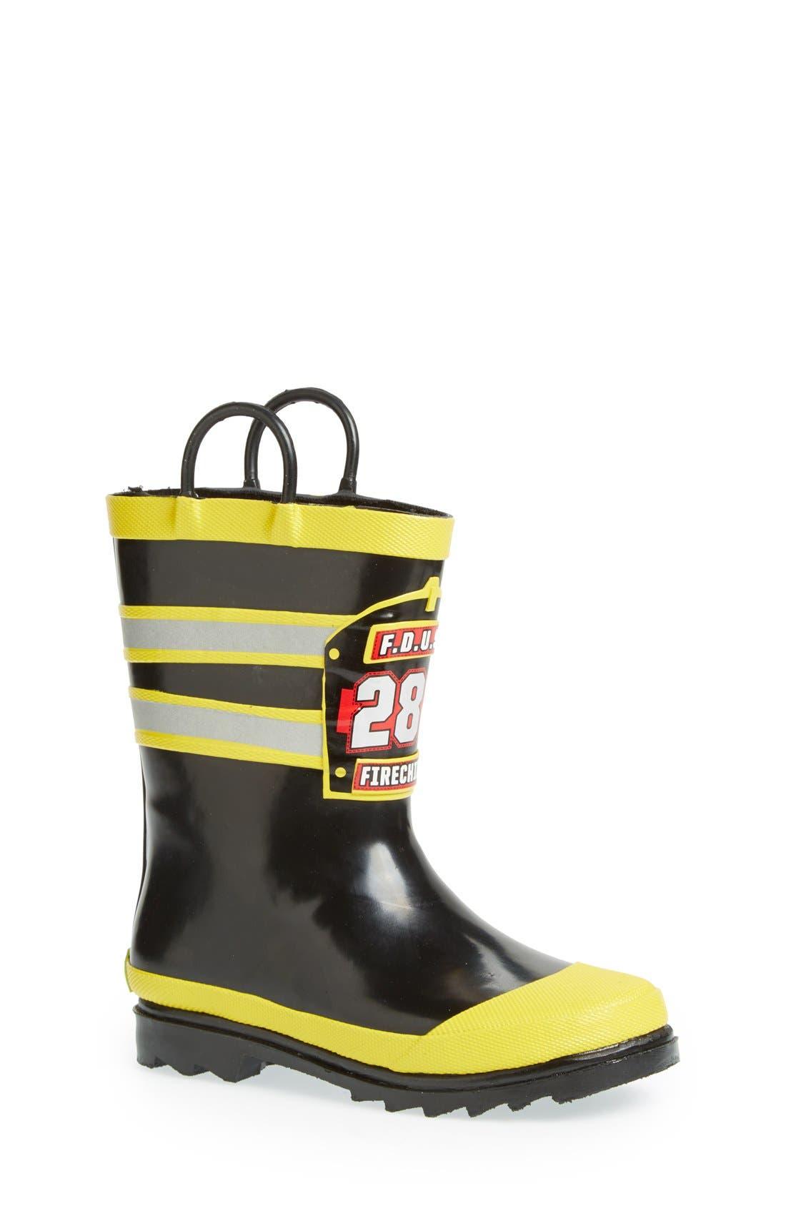 WESTERN CHIEF, F.D.U.S.A. Waterproof Rain Boot, Main thumbnail 1, color, BLACK