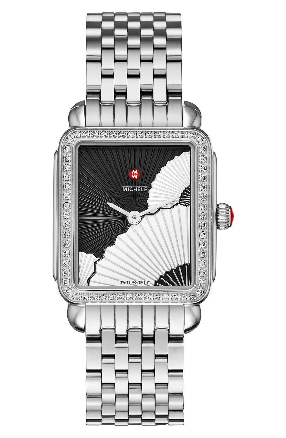 MICHELE, Deco II Mid 16mm Bracelet Watchband, Alternate thumbnail 5, color, SILVER