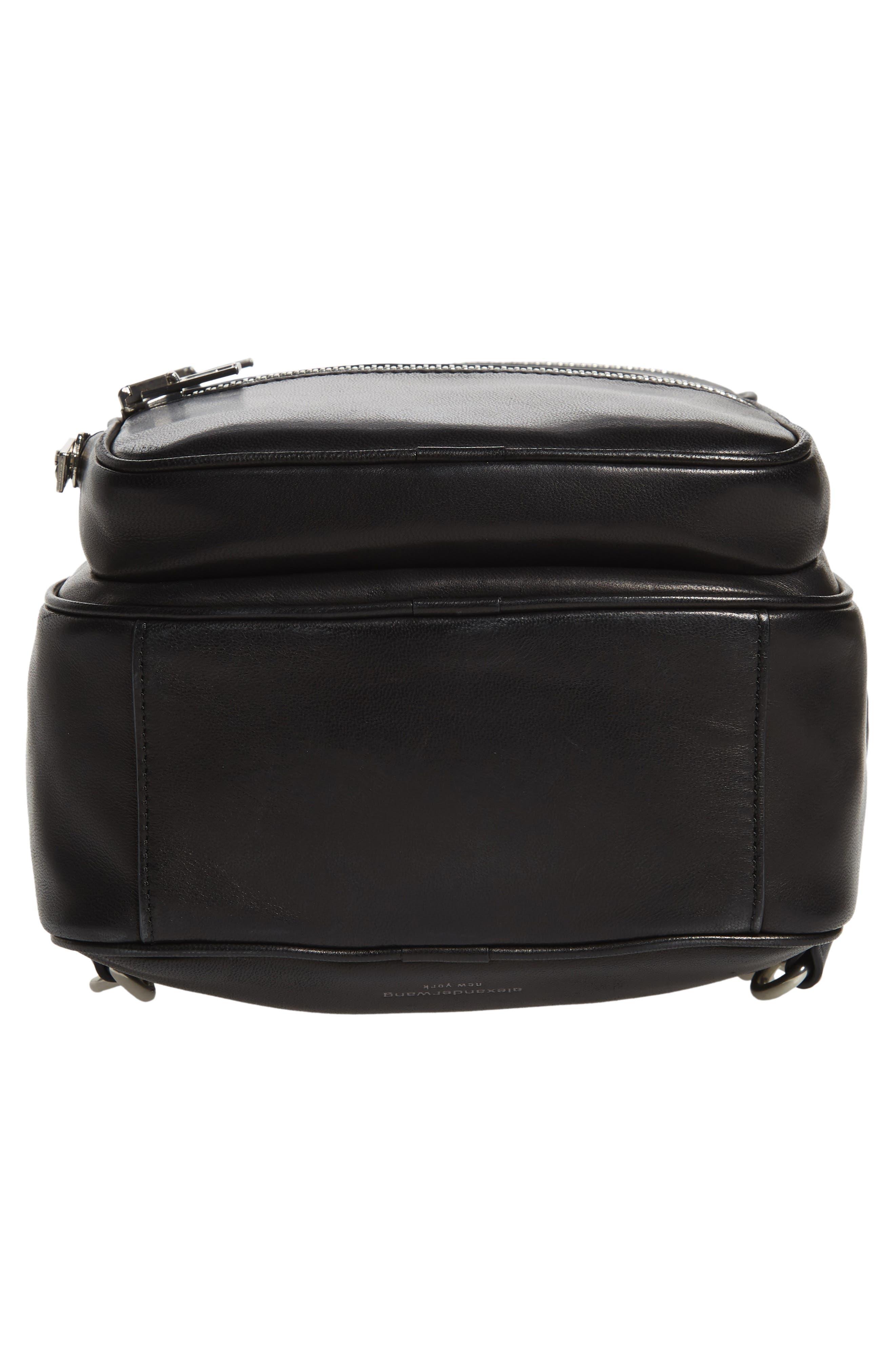 ALEXANDER WANG, Attica Lambskin Leather Backpack, Alternate thumbnail 6, color, BLACK