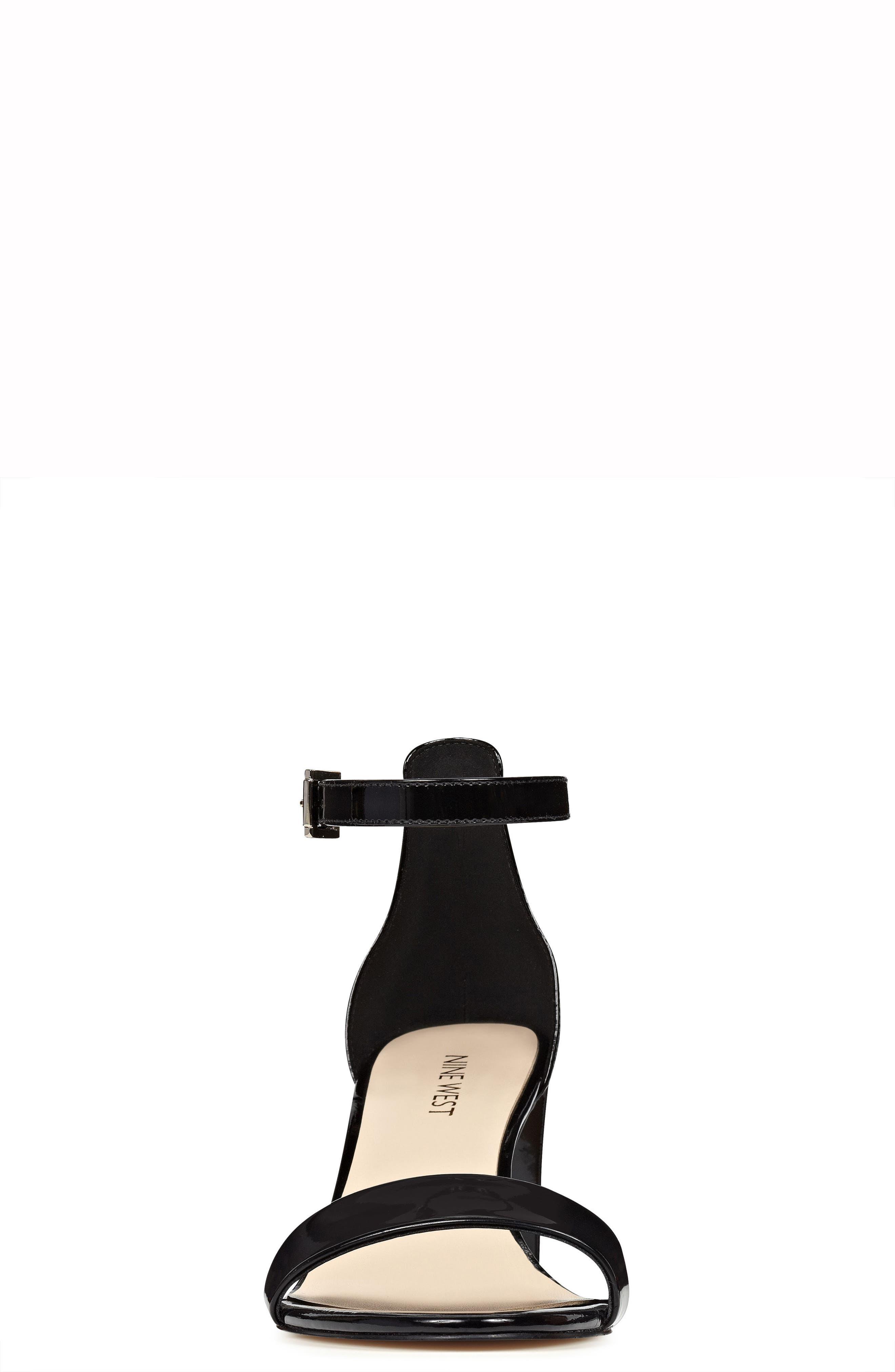 NINE WEST, Pruce Ankle Strap Sandal, Alternate thumbnail 4, color, BLACK PATENT