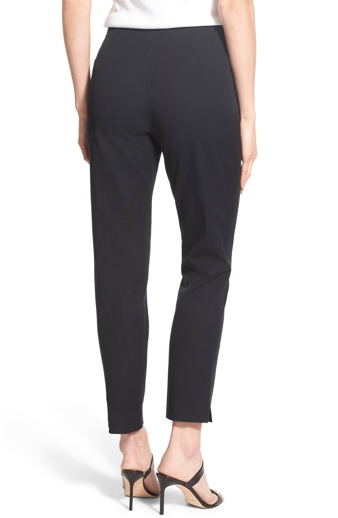 MING WANG, Woven Slim Ankle Pants, Alternate thumbnail 9, color, BLACK
