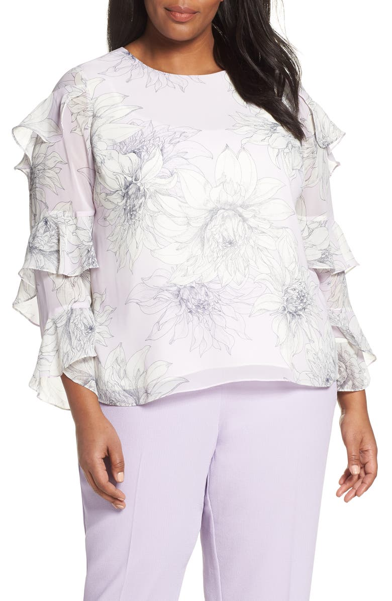 Vince Camuto Tops PAGODA BLOSSOMS TIERED RUFFLE SLEEVE BLOUSE
