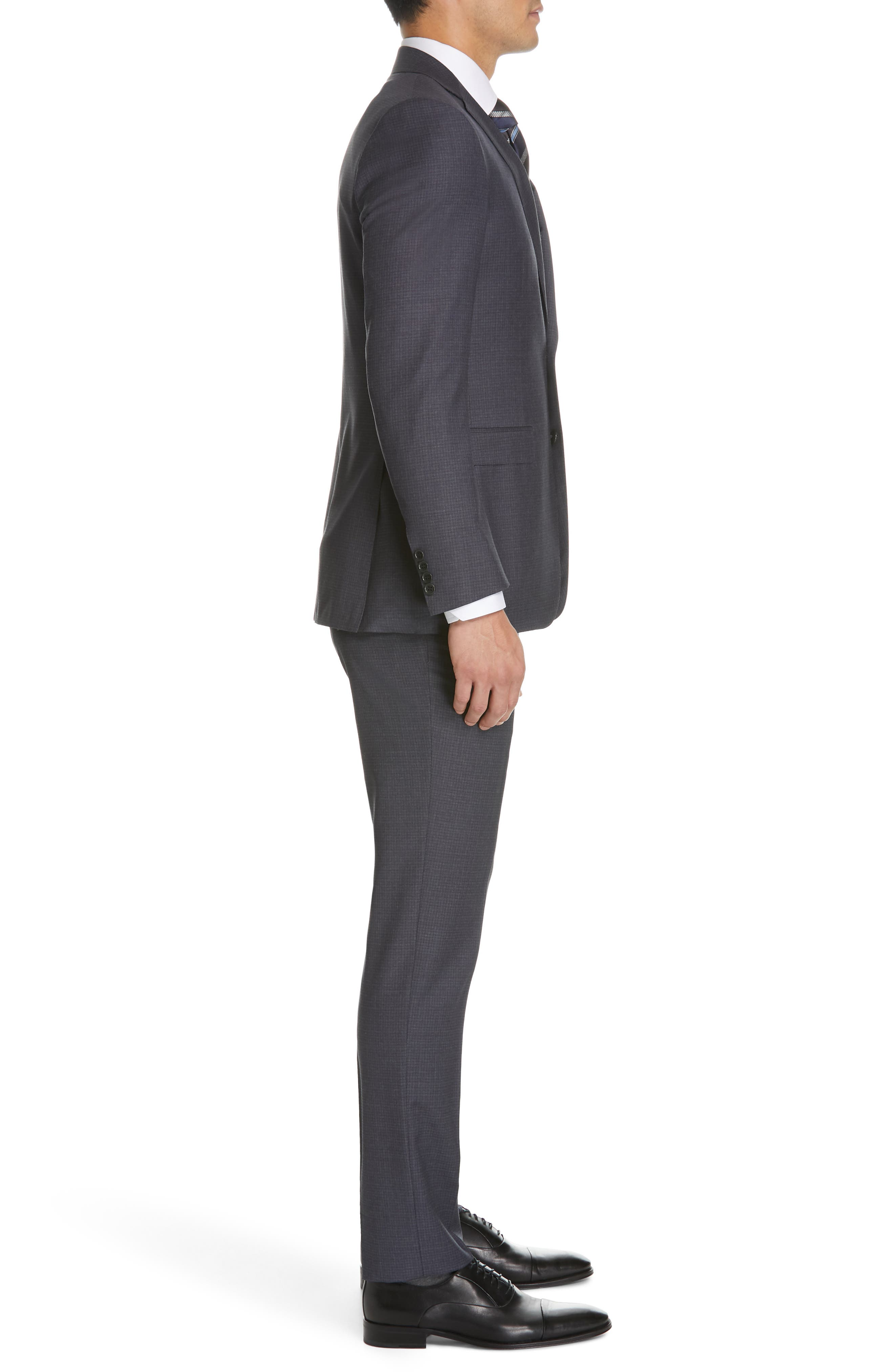 CANALI, Milano Classic Fit Check Wool Suit, Alternate thumbnail 3, color, CHARCOAL
