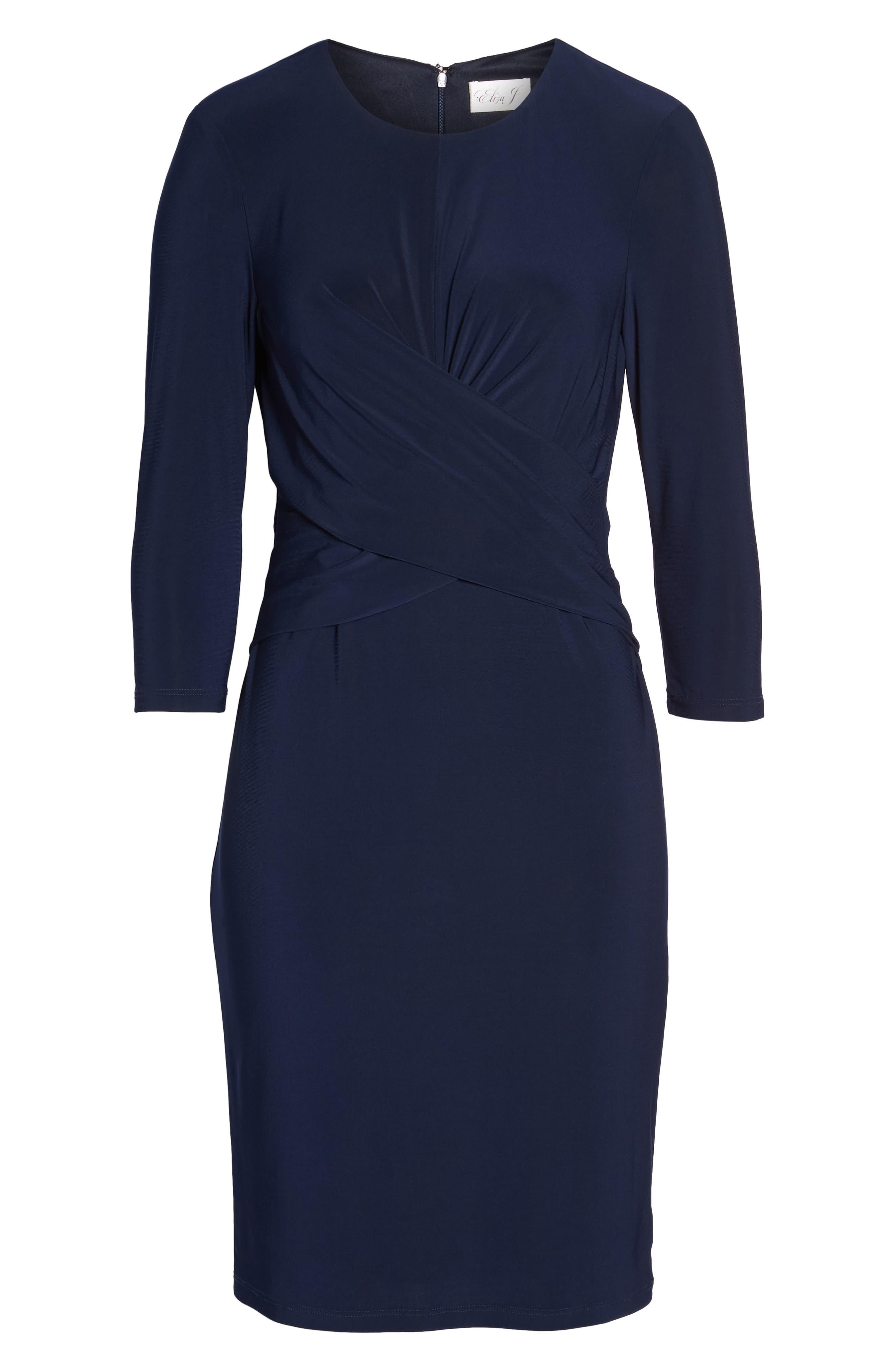 ELIZA J, Ruched Jersey Sheath Dress, Alternate thumbnail 8, color, NAVY