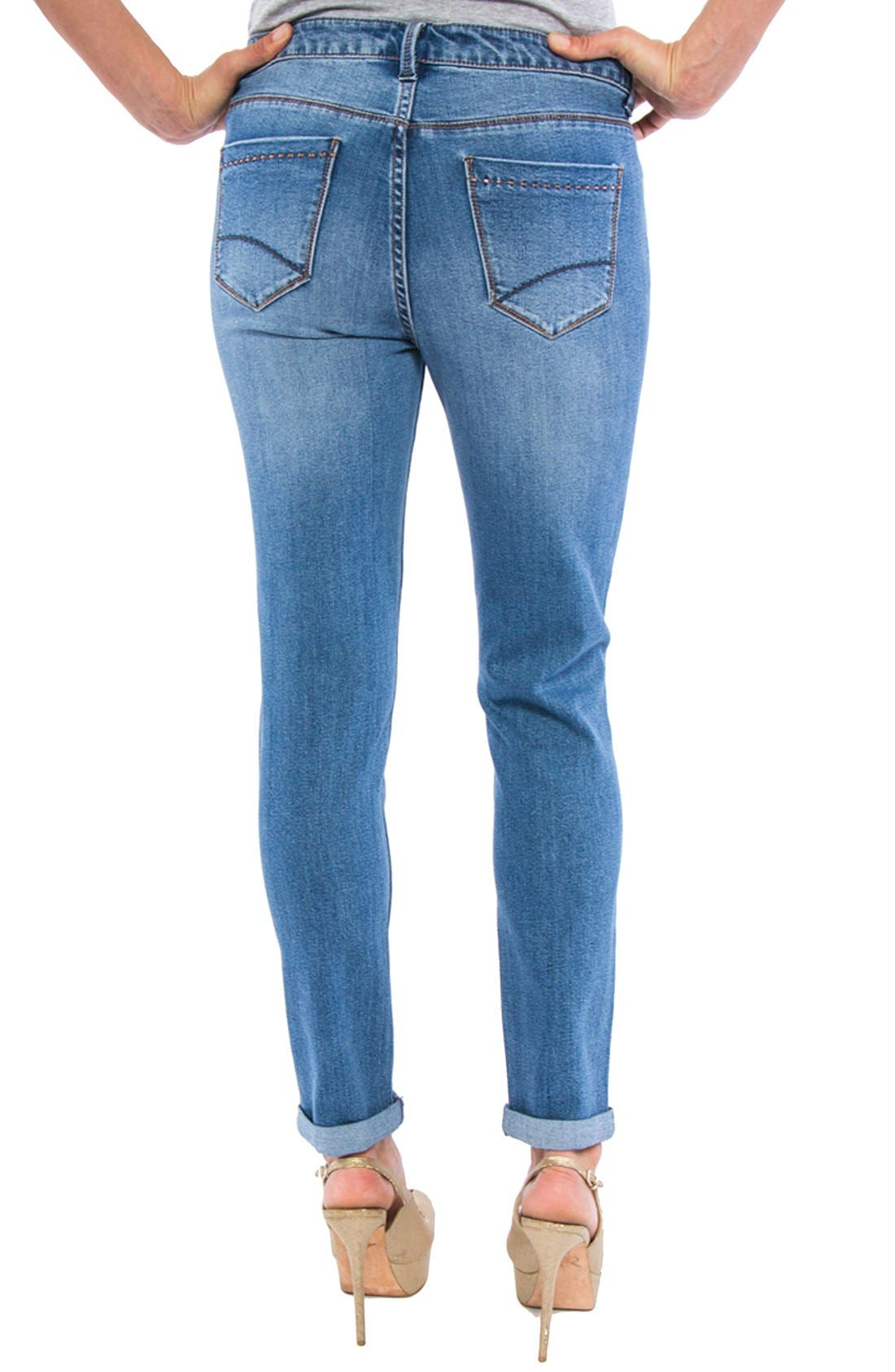 LIVERPOOL, Jeans Company 'Tory' Distressed Girlfriend Jeans, Alternate thumbnail 2, color, 401