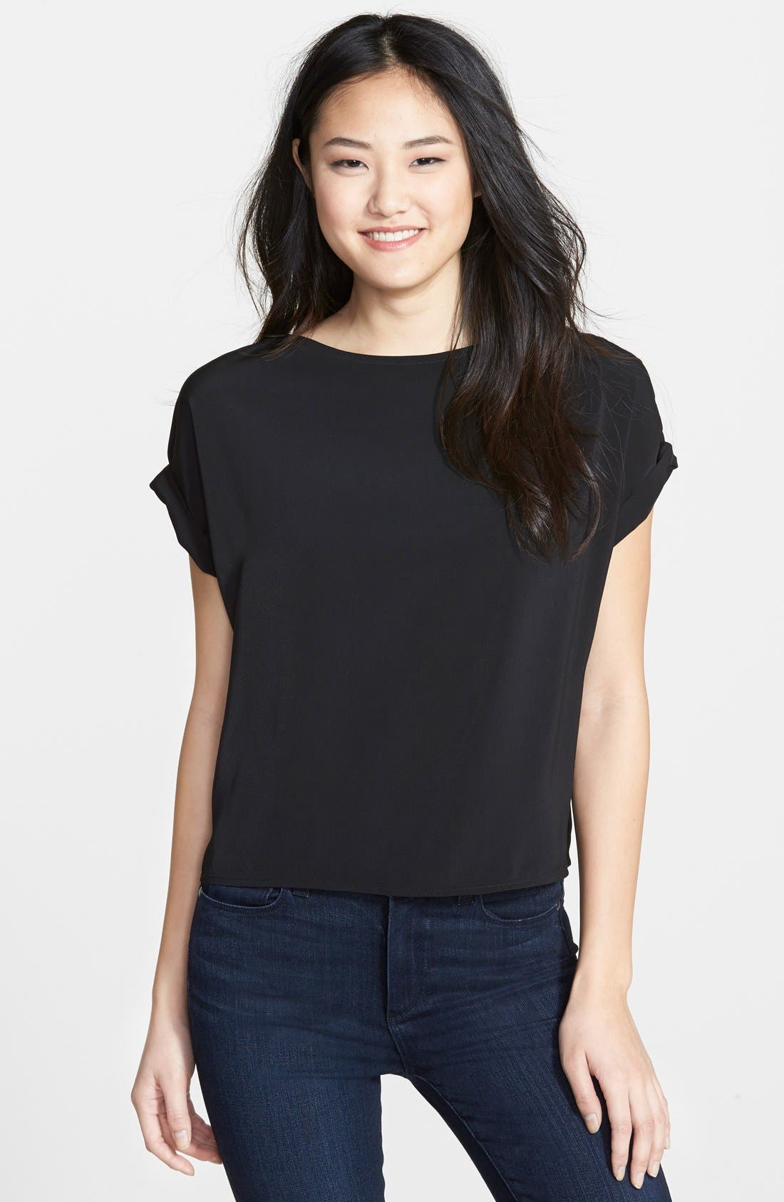 HALOGEN<SUP>®</SUP>, Roll Sleeve Crepe Blouse, Main thumbnail 1, color, 001