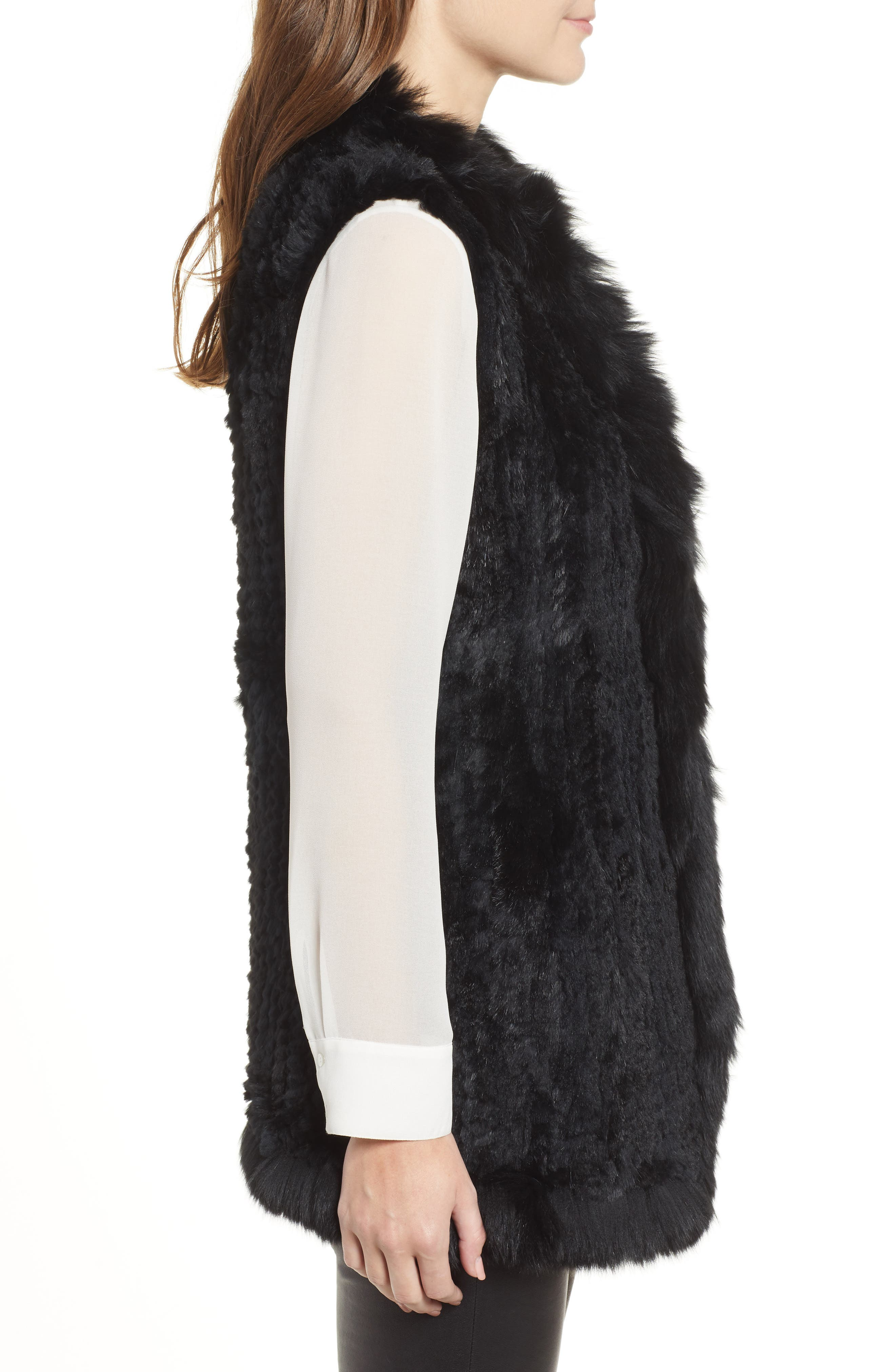LOVE TOKEN, Genuine Rabbit Fur Vest with Genuine Fox Fur Trim, Alternate thumbnail 4, color, 001