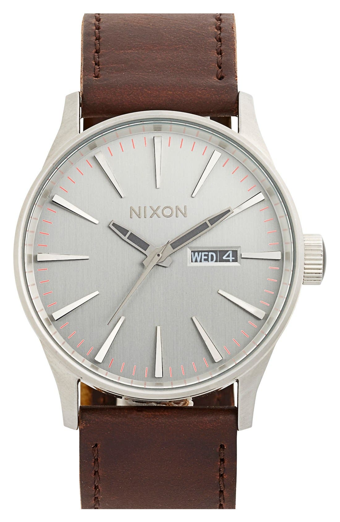 NIXON, The Sentry Leather Strap Watch, 42mm, Main thumbnail 1, color, SILVER/ BROWN