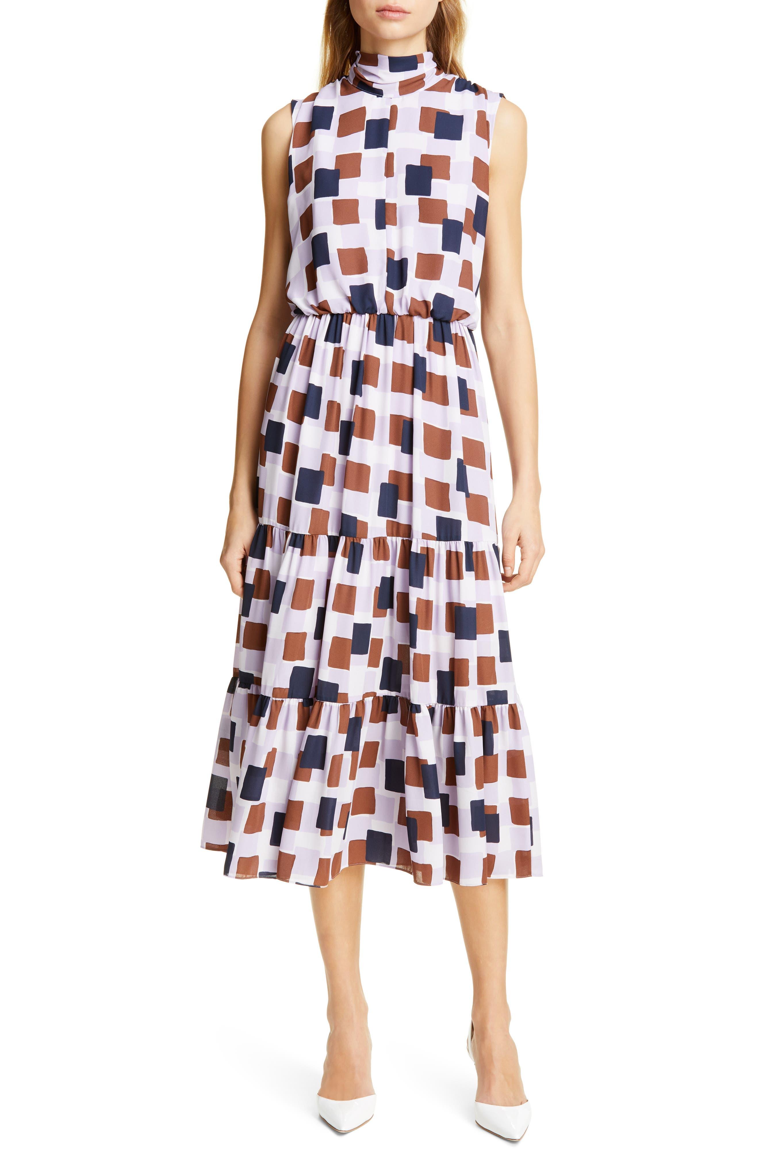 Kate Spade New York Geo Squares Midi Dress, Purple
