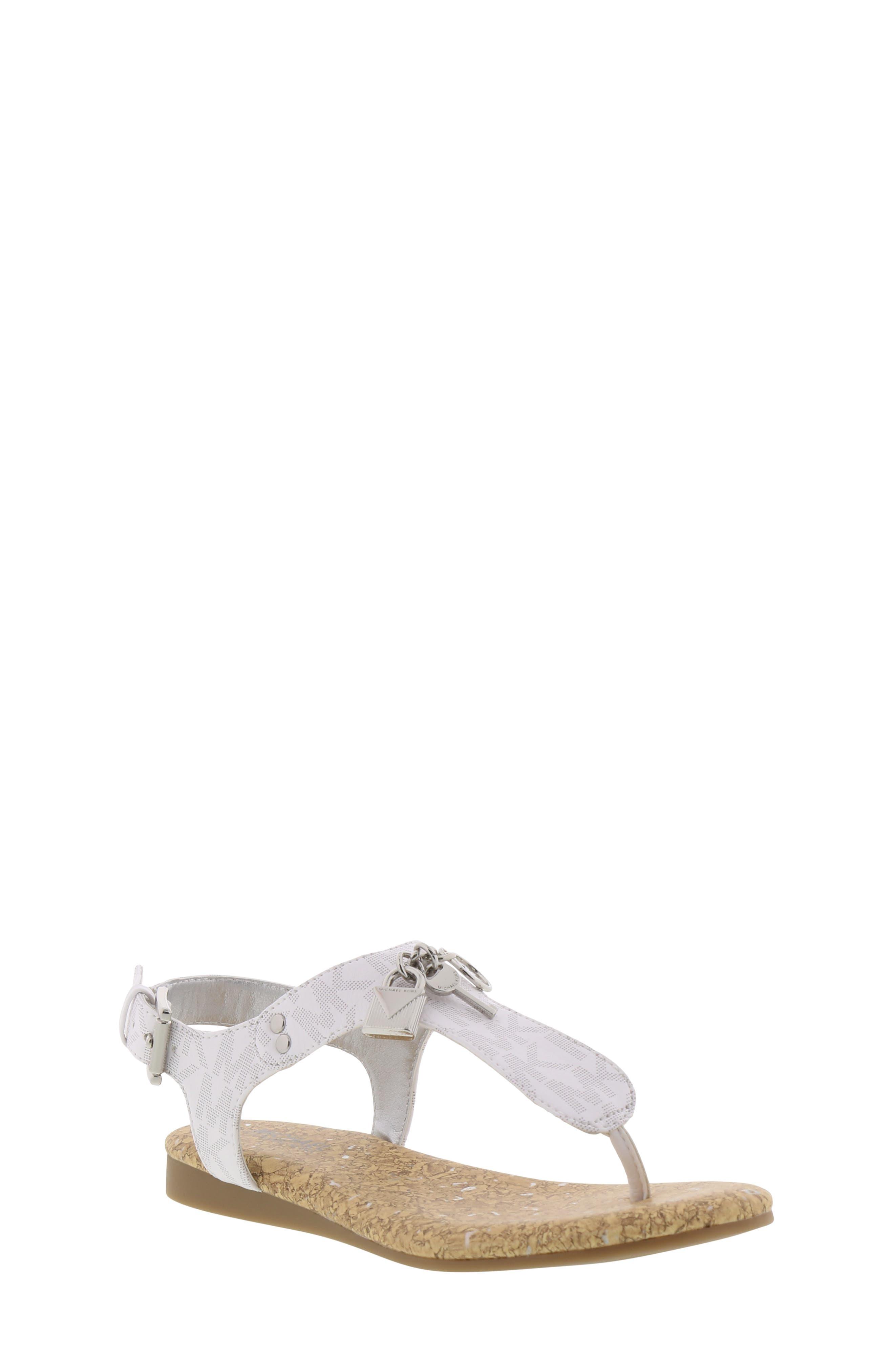 MICHAEL MICHAEL KORS, Tilly Cora Charm T-Strap Sandal, Main thumbnail 1, color, WHITE LOGO