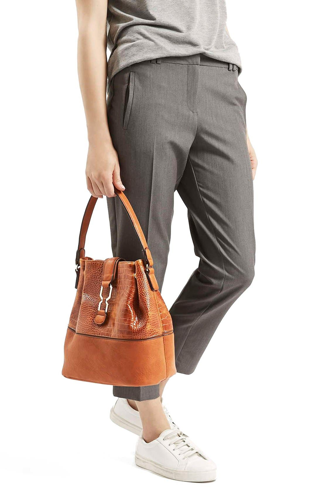 TOPSHOP, Embossed Faux Leather Bucket Bag, Alternate thumbnail 2, color, 210
