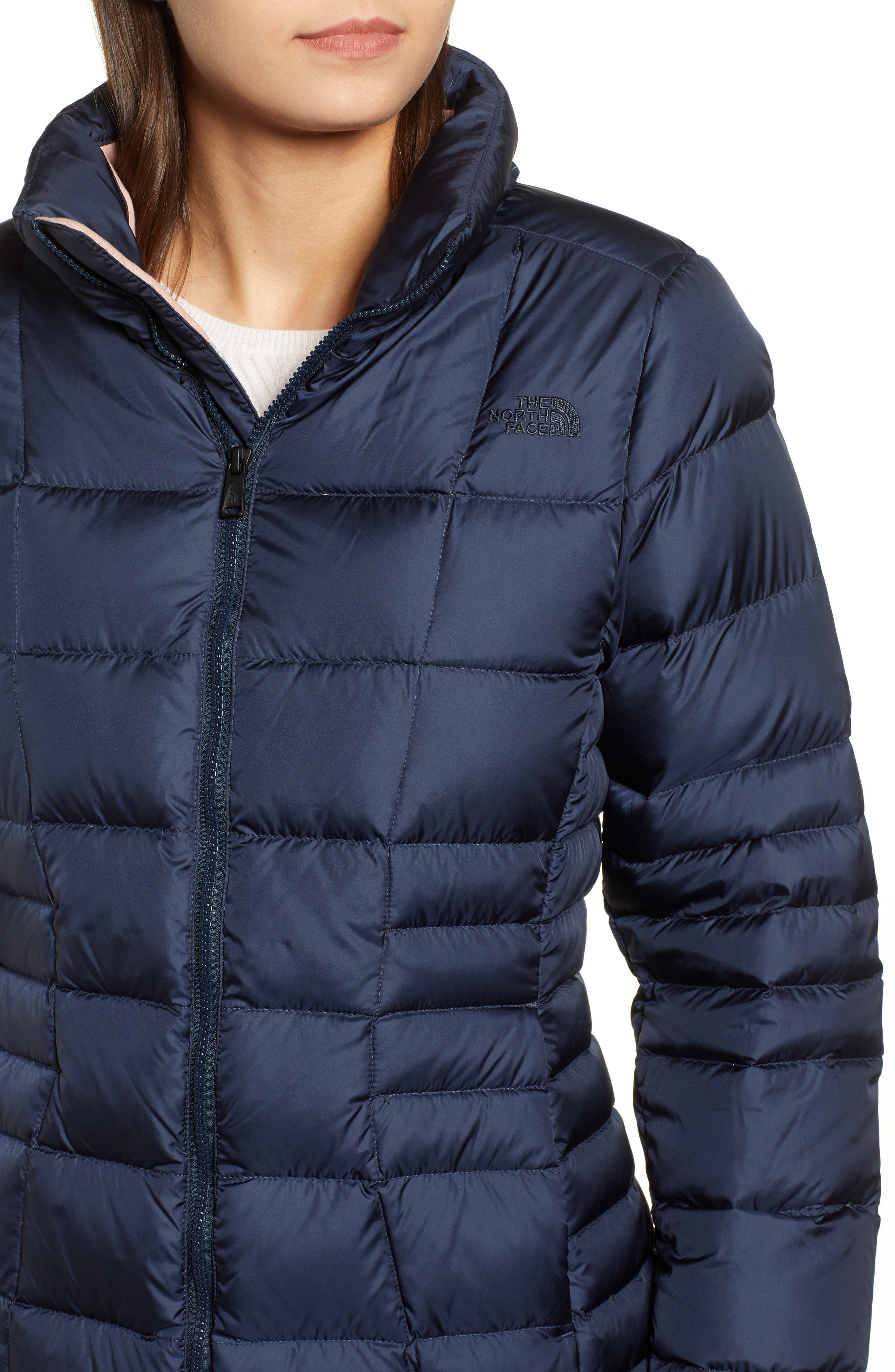 THE NORTH FACE, Metropolis II Hooded Water Resistant Down Parka, Alternate thumbnail 5, color, URBAN NAVY/ MULTI TOPO PRINT