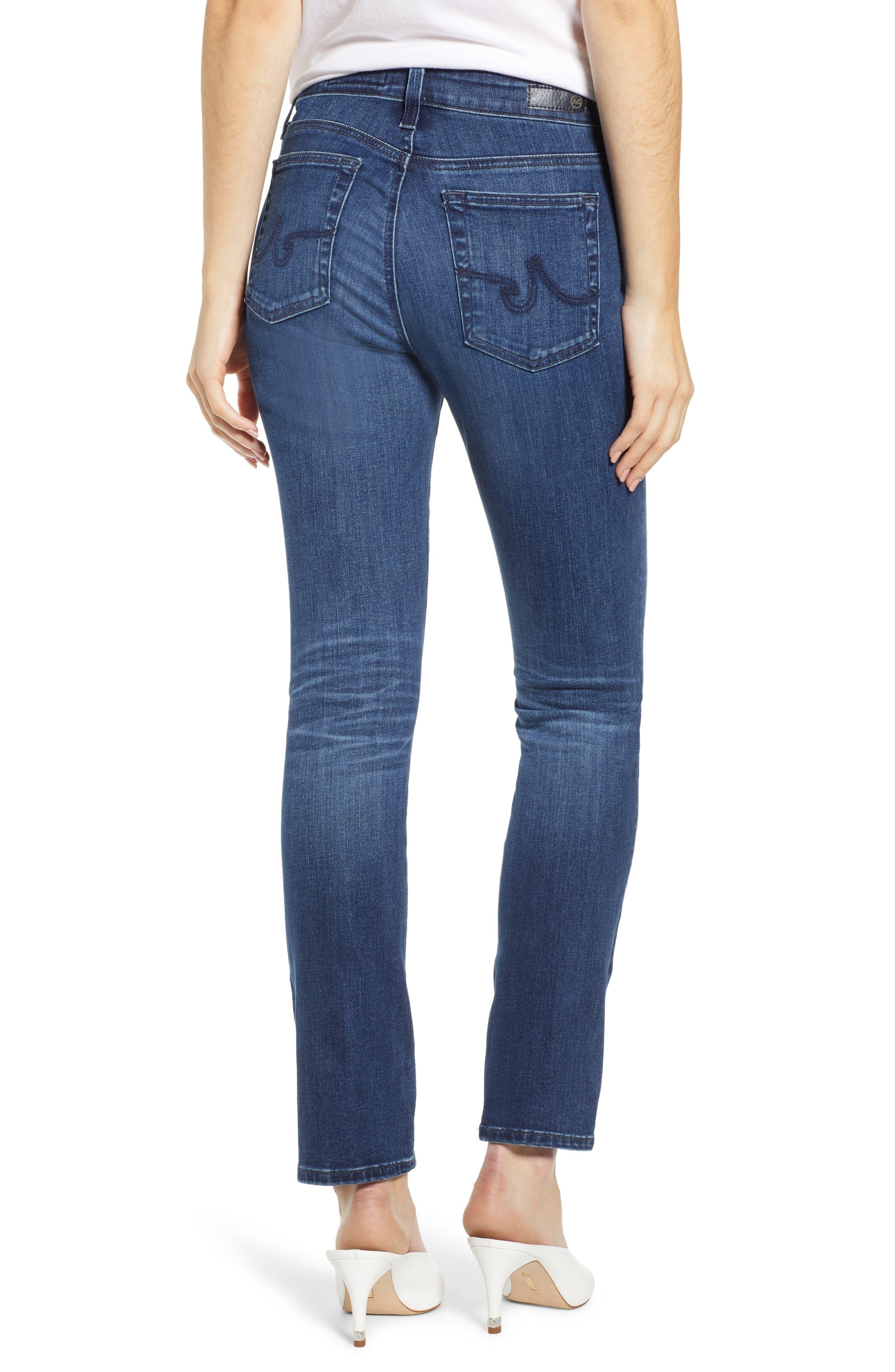 AG, Mari High Waist Slim Straight Leg Jeans, Alternate thumbnail 2, color, 05 YEAR BLUE ESSENCE