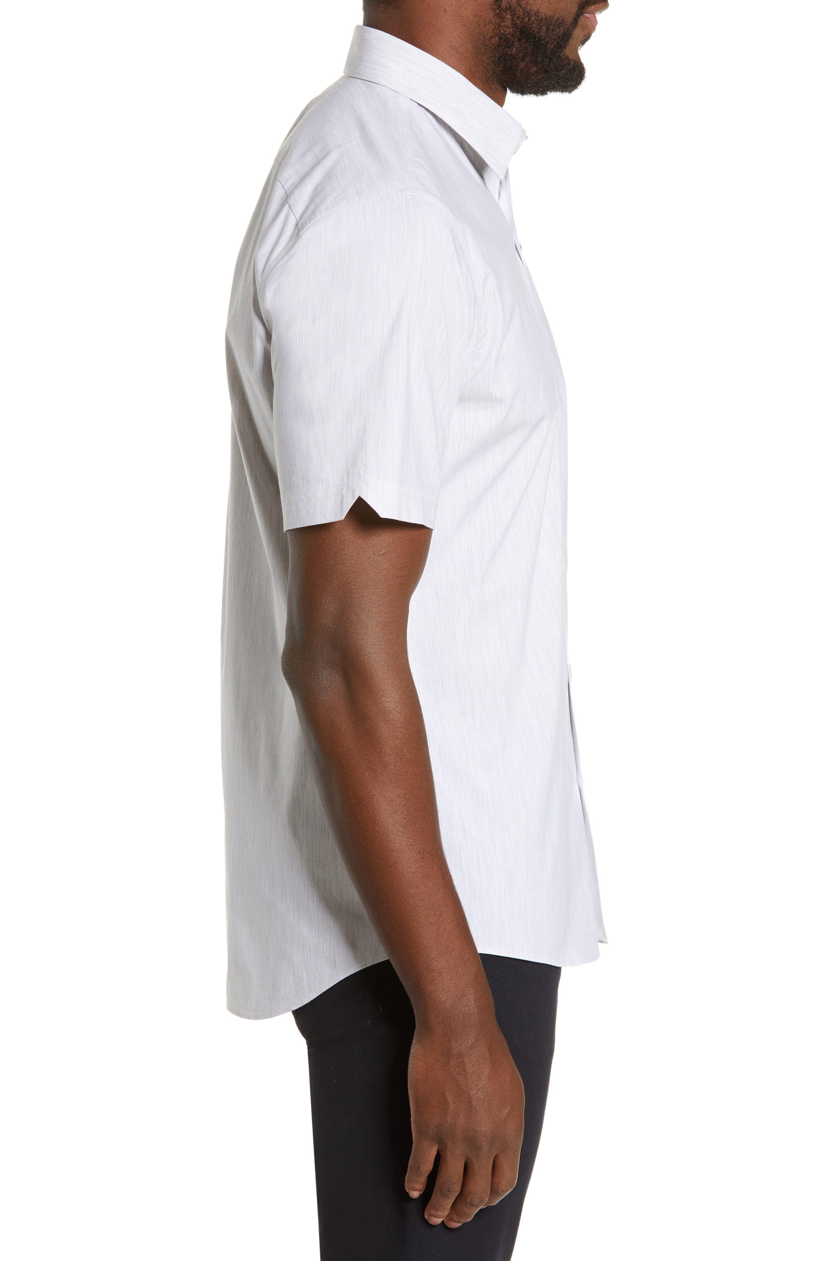 ZACHARY PRELL, Baumann Regular Fit Sport Shirt, Alternate thumbnail 4, color, GREY