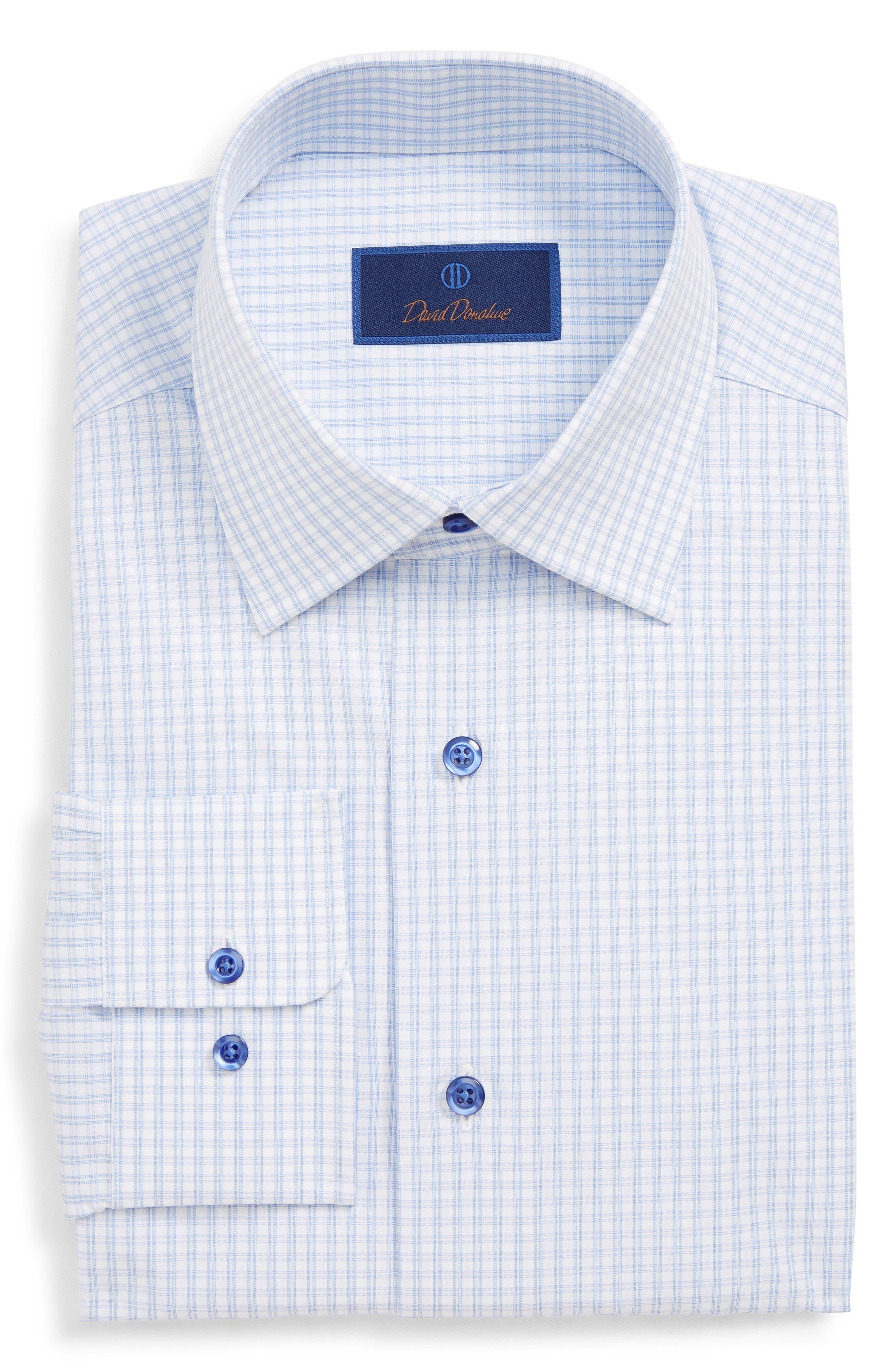 DAVID DONAHUE, Regular Fit Plaid Dress Shirt, Main thumbnail 1, color, BLUE