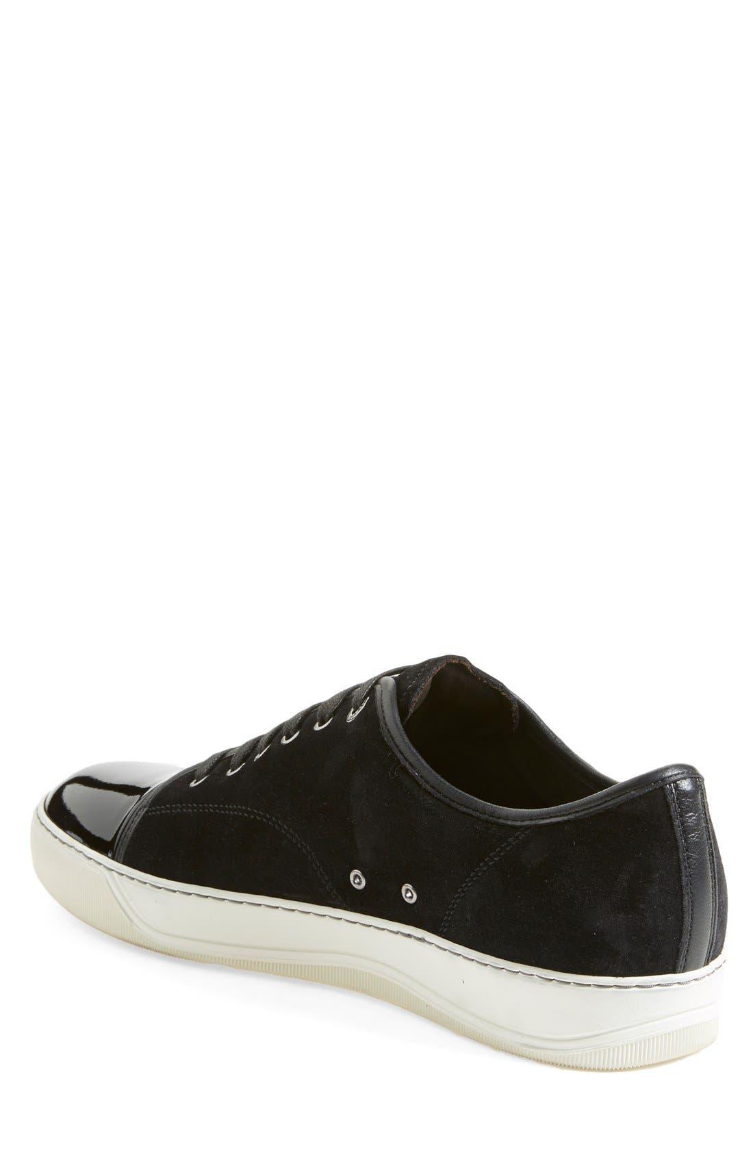 LANVIN, Low Top Suede Sneaker, Alternate thumbnail 2, color, BLACK