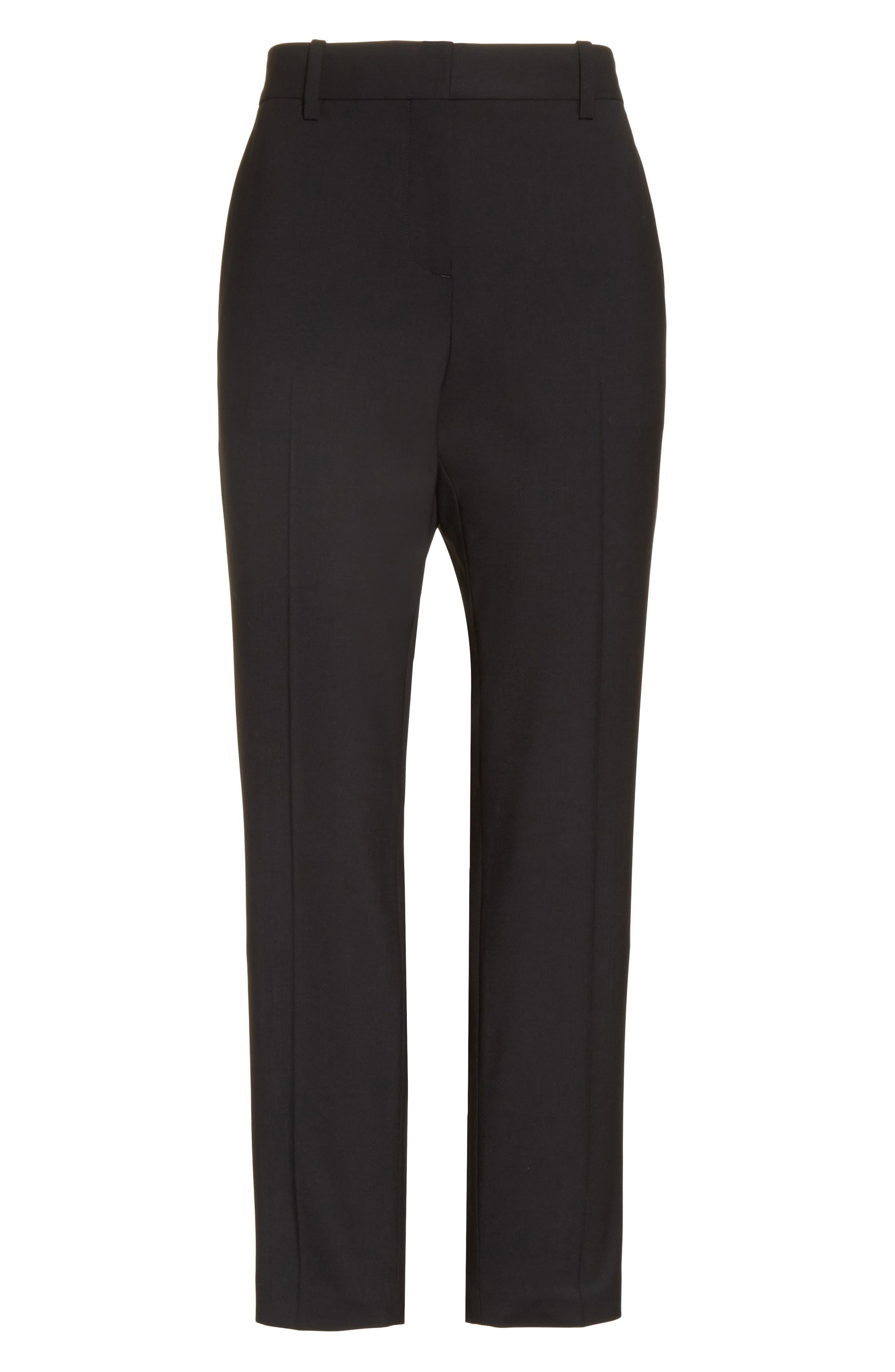 THEORY, Treeca 2 Good Wool Crop Suit Pants, Alternate thumbnail 7, color, BLACK