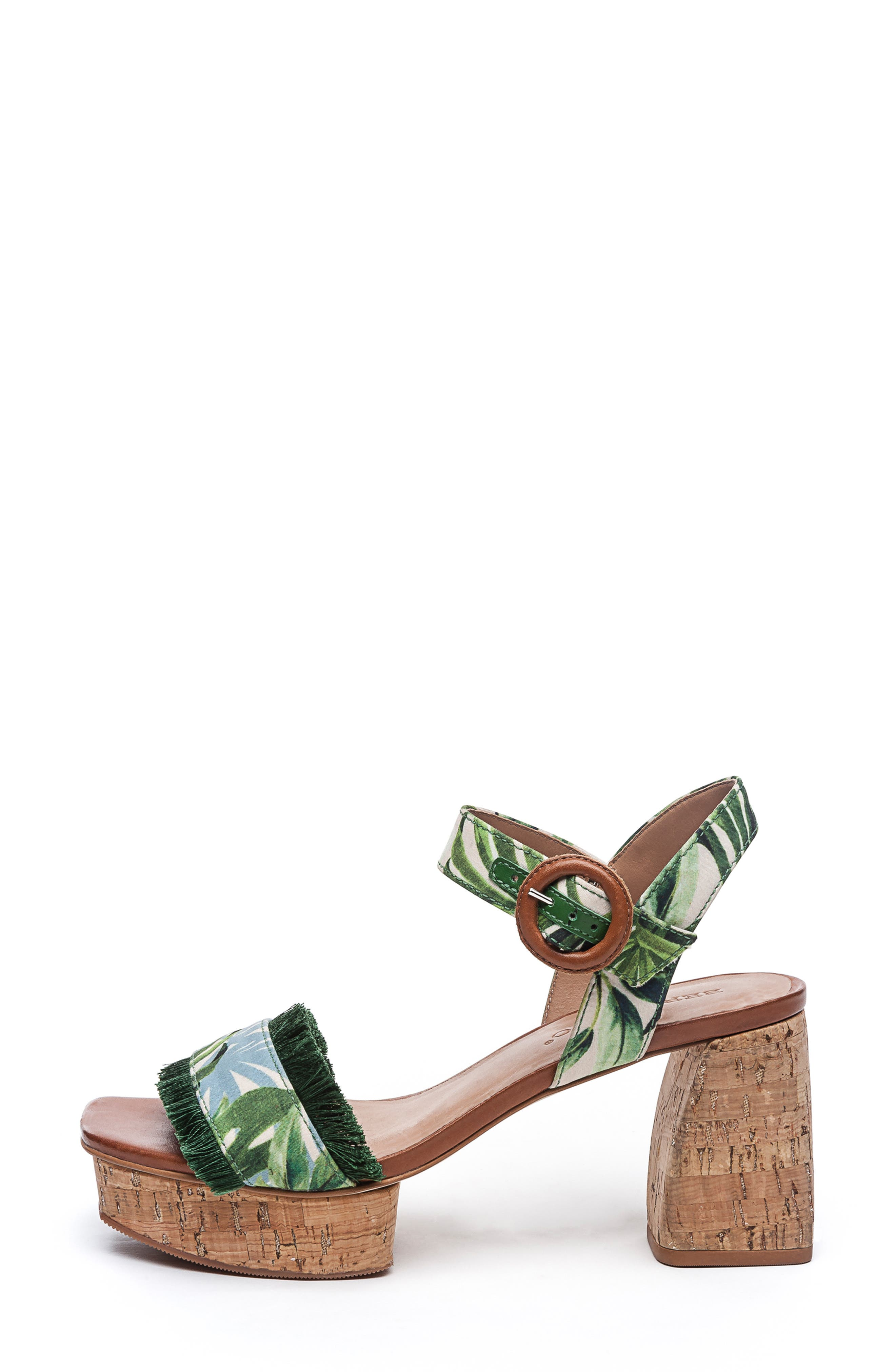 BERNARDO, Reagan Platform Sandal, Alternate thumbnail 3, color, PALM FABRIC