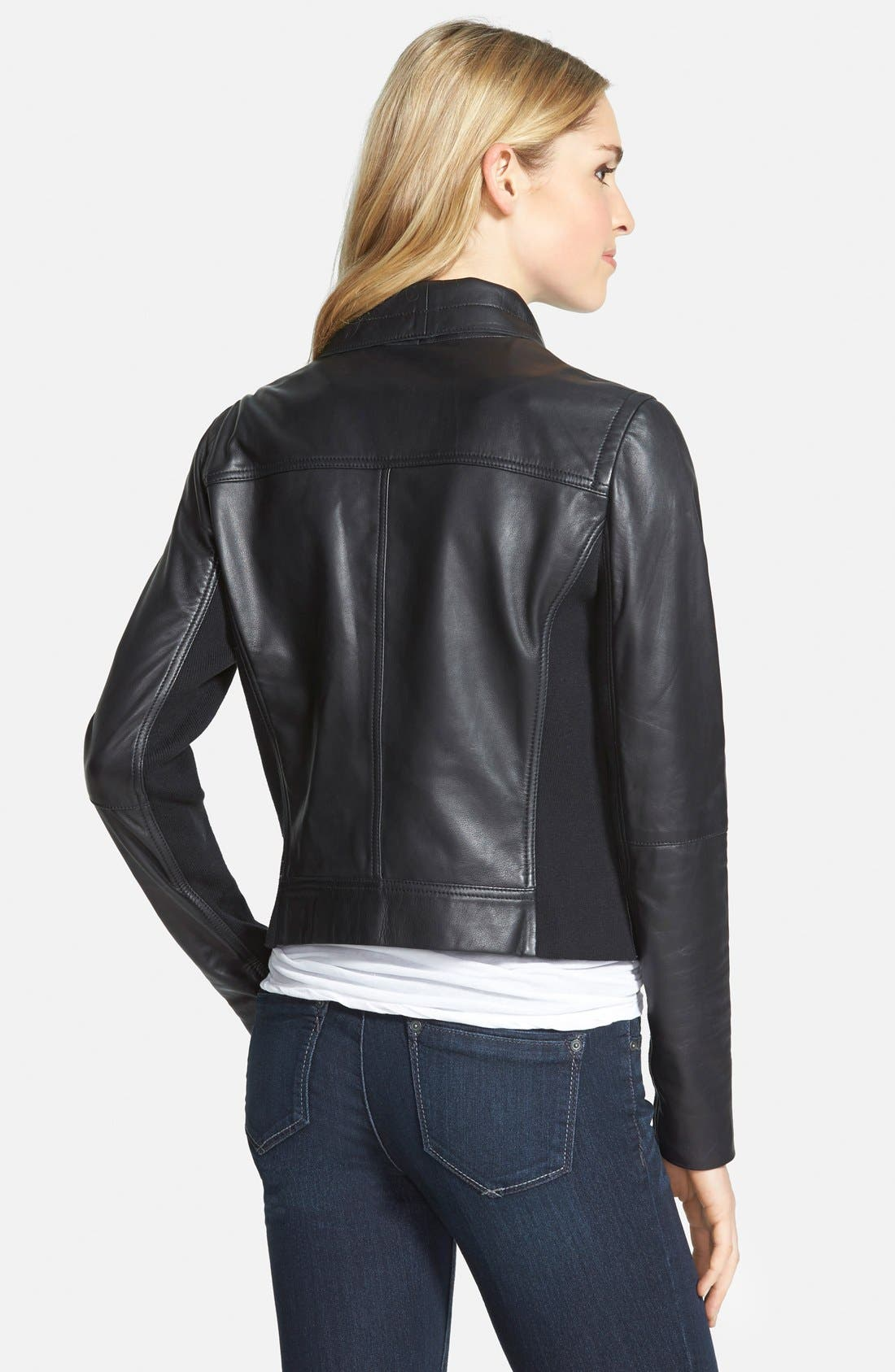 CASLON<SUP>®</SUP>, Drape Collar Leather Jacket, Alternate thumbnail 3, color, 001