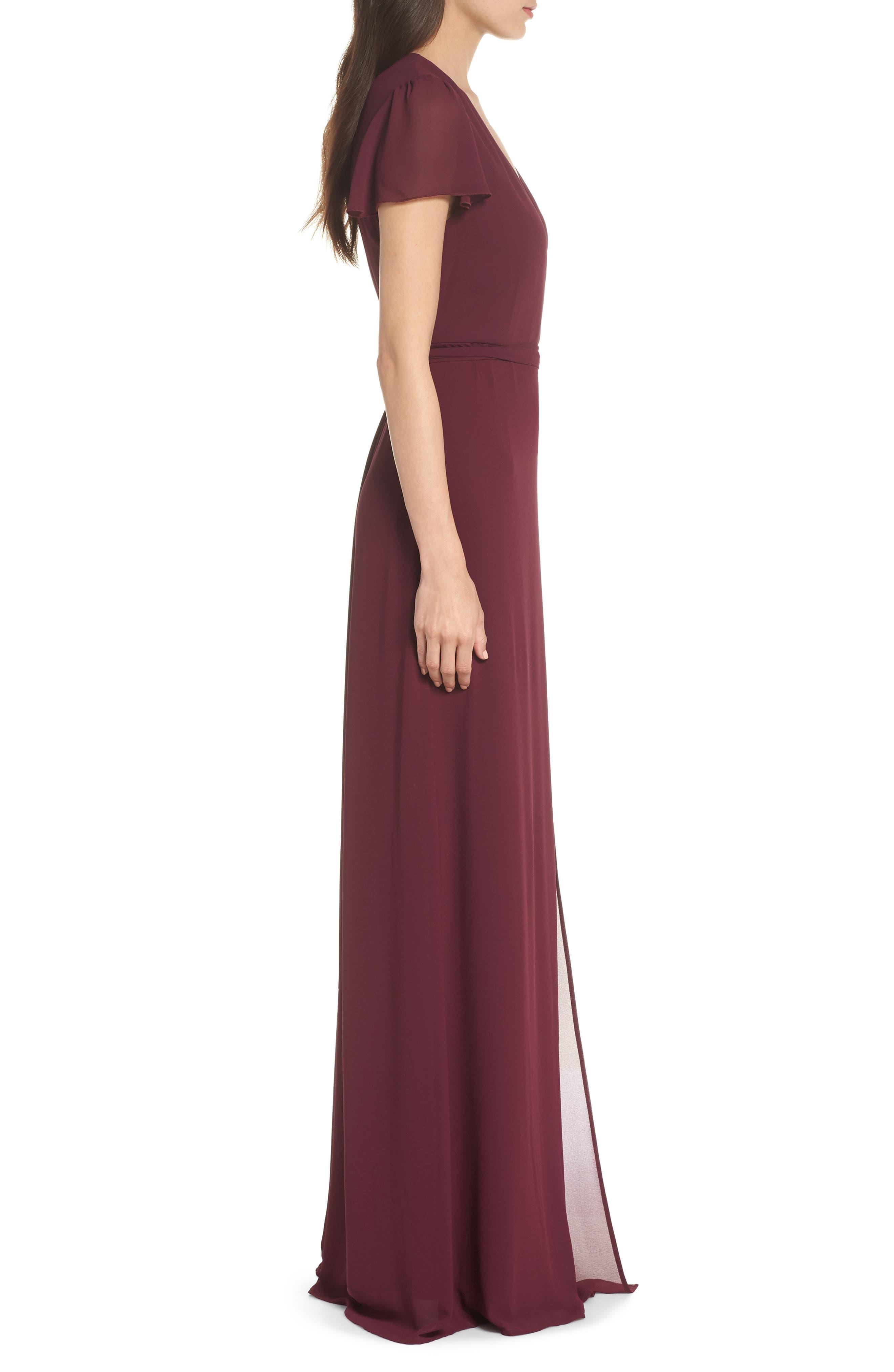 SHOW ME YOUR MUMU, Noelle Wrap Dress, Alternate thumbnail 4, color, MERLOT CHIFFON