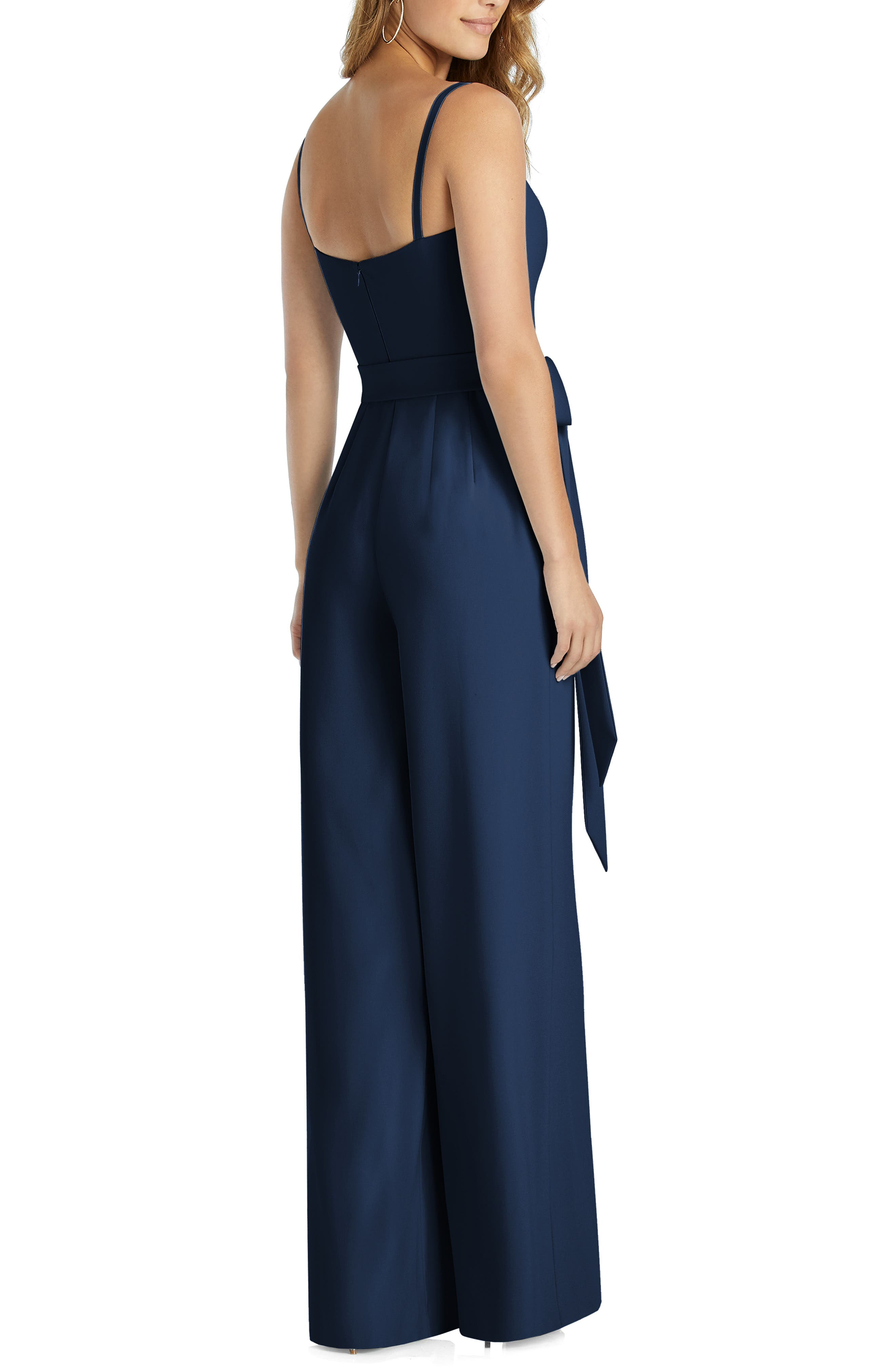DESSY COLLECTION, Alana Crepe Jumpsuit, Alternate thumbnail 2, color, MIDNIGHT