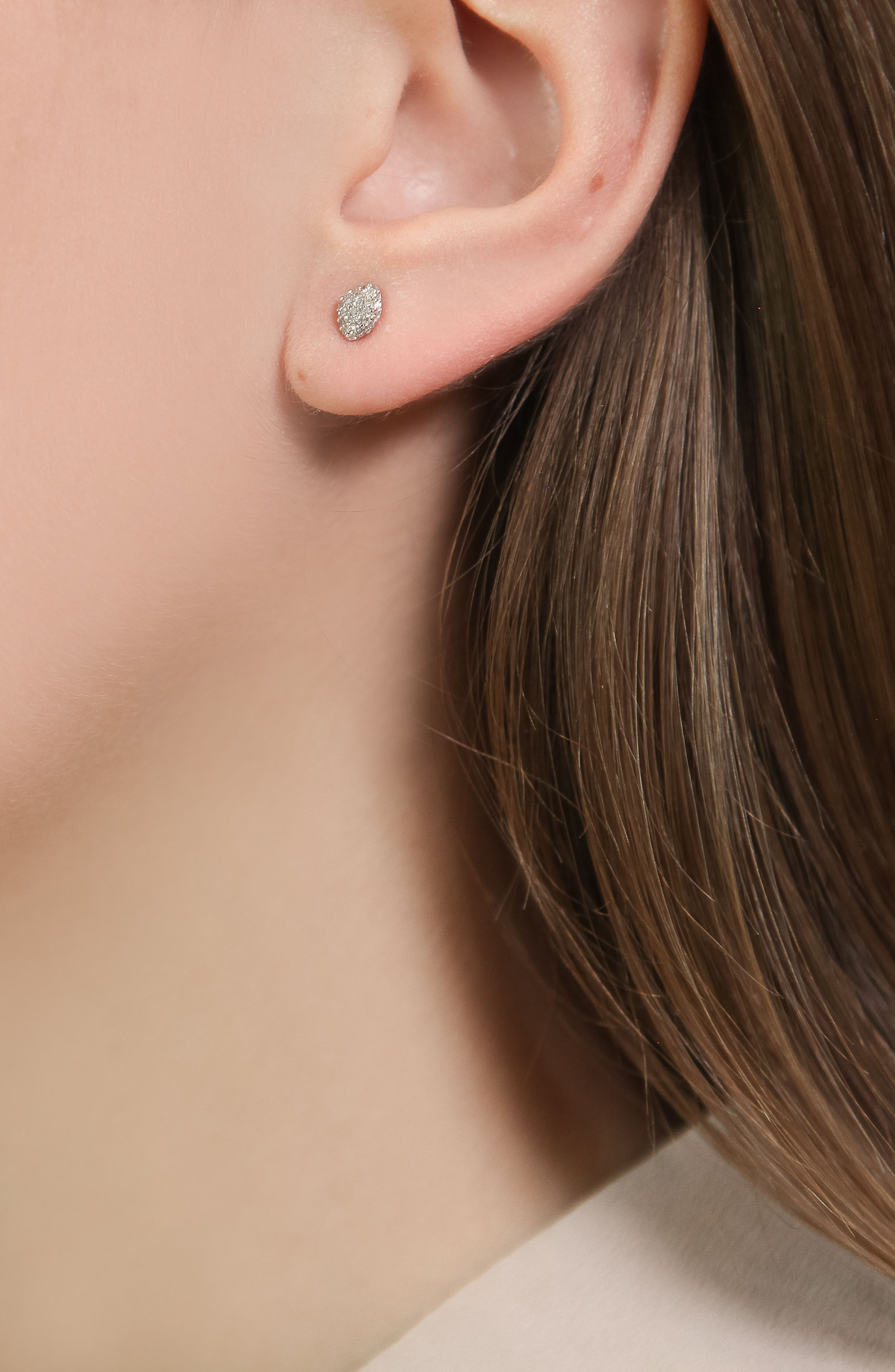 MONICA VINADER, Nura Mini Diamond Stud Earrings, Alternate thumbnail 4, color, ROSE GOLD/ DIAMOND