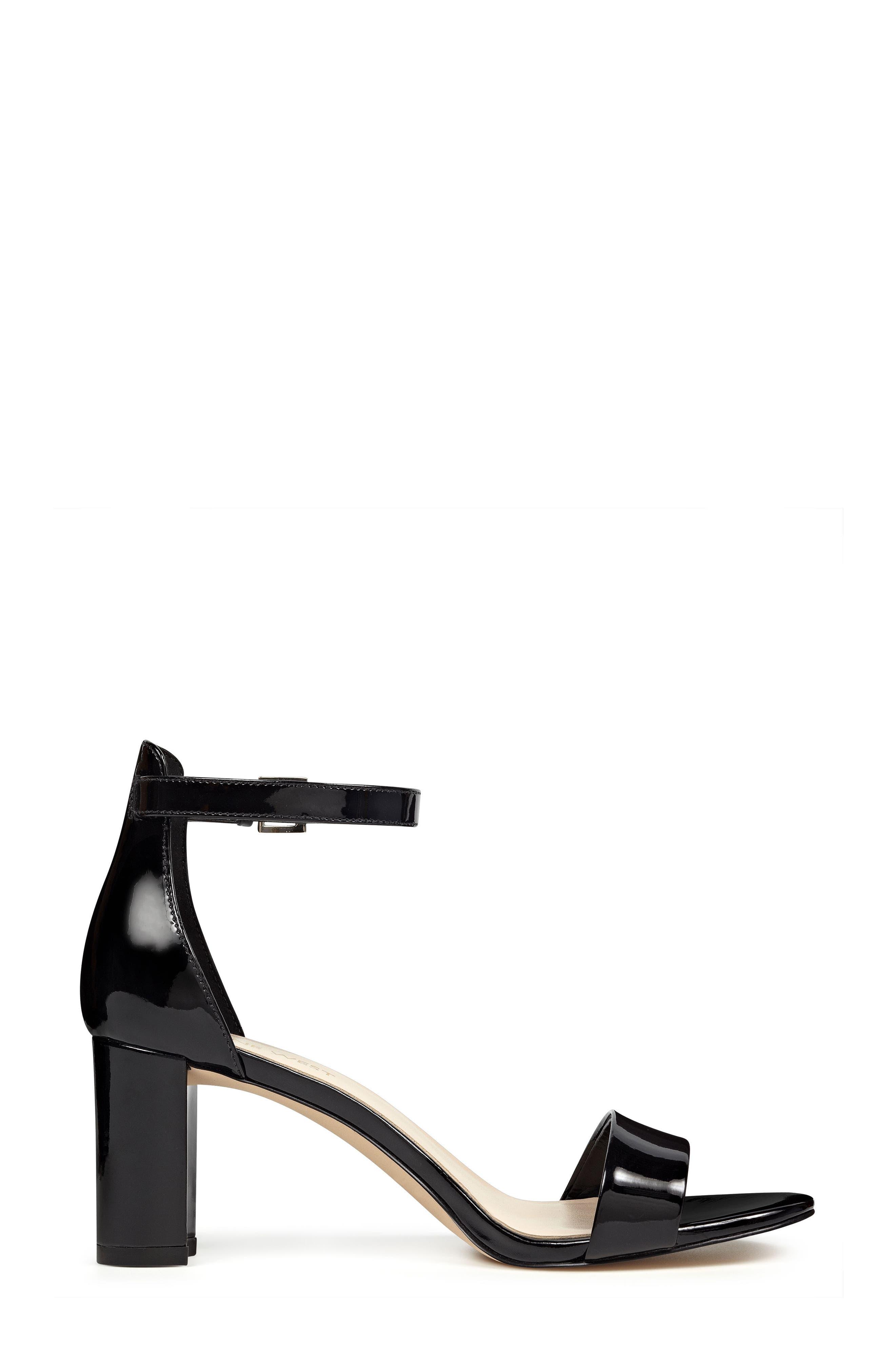 NINE WEST, Pruce Ankle Strap Sandal, Alternate thumbnail 3, color, BLACK PATENT