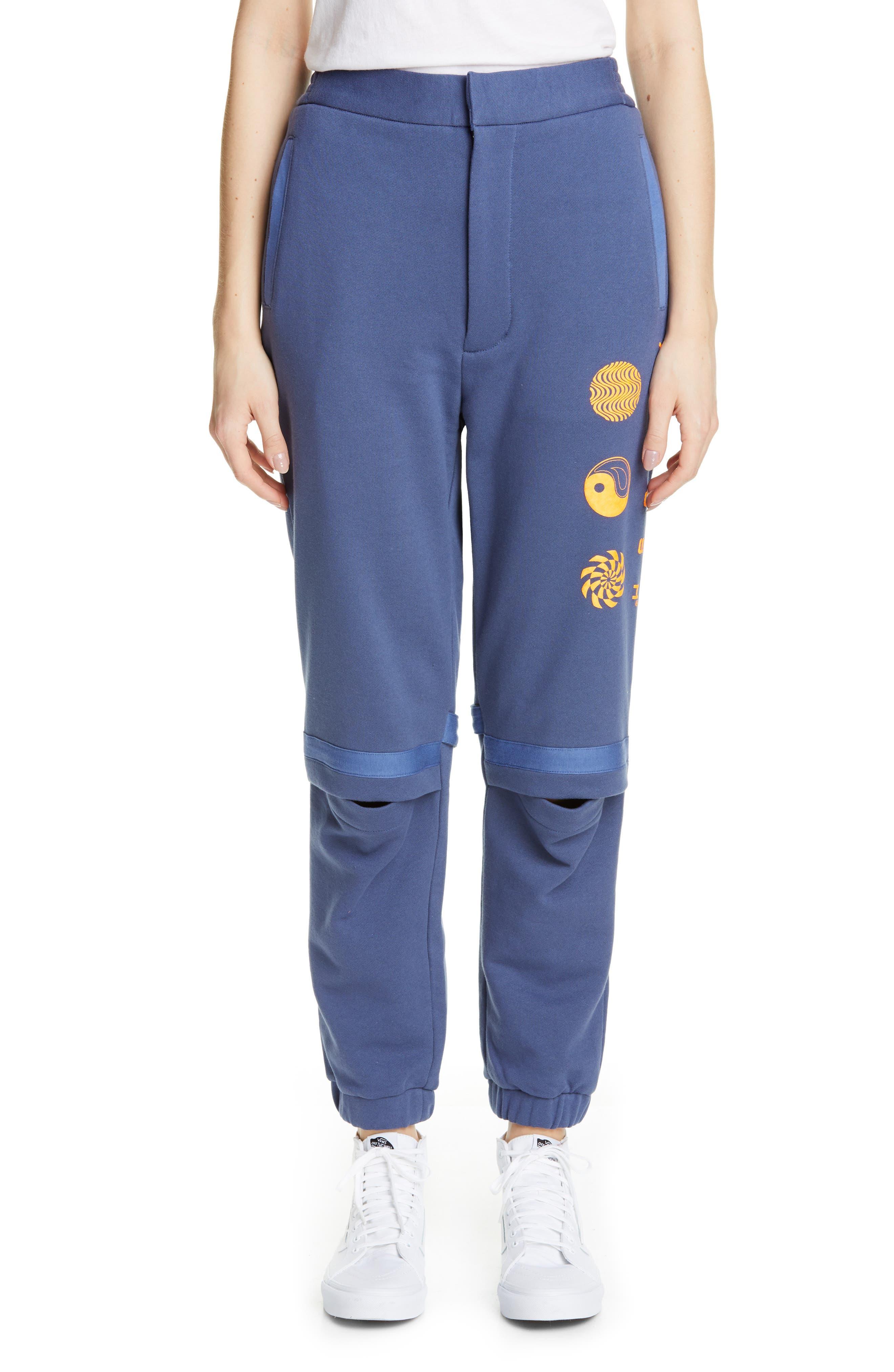 AMBUSH, Slit Knee Sweatpants, Main thumbnail 1, color, BLUE
