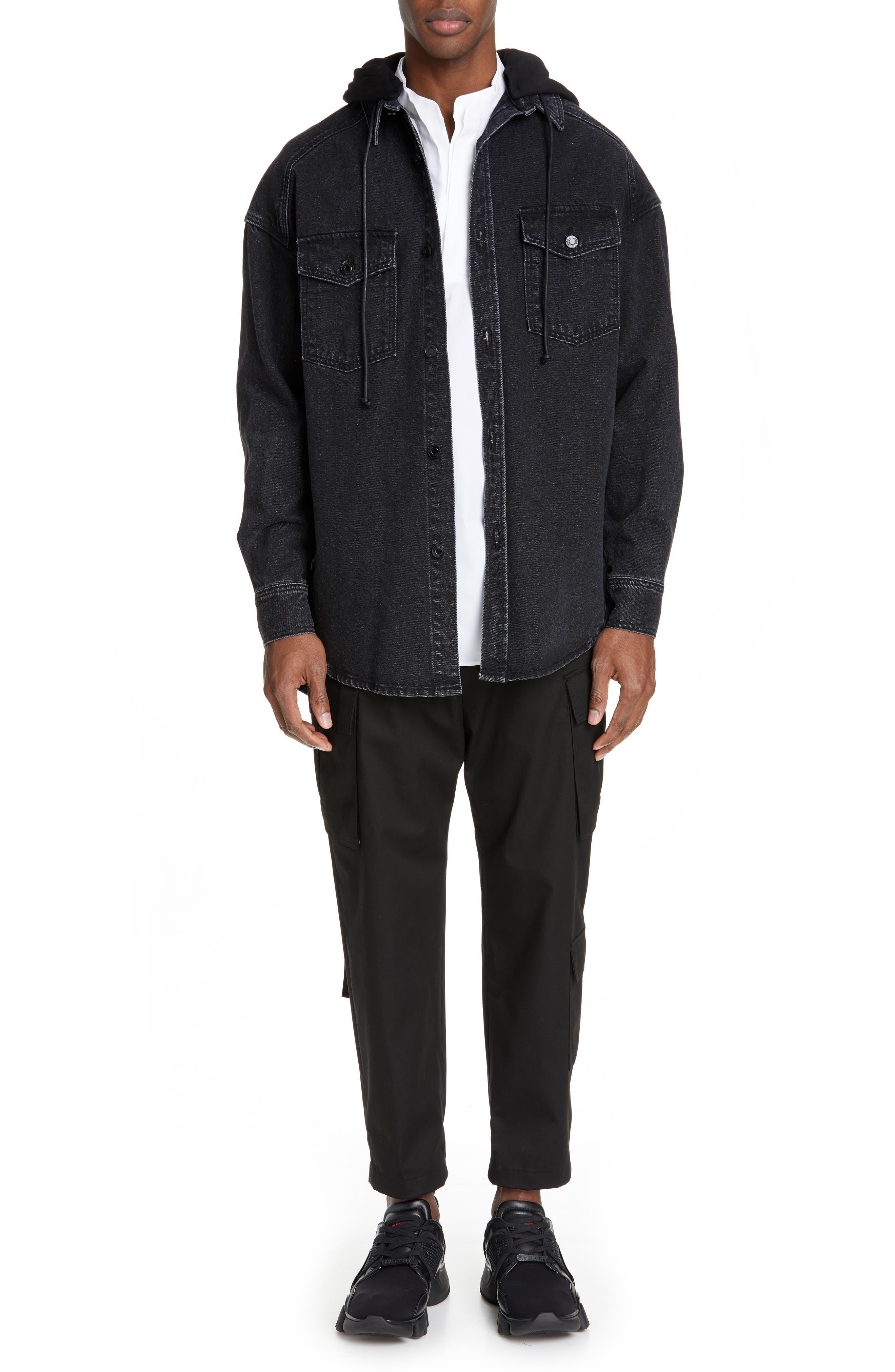 JUUN.J, Denim Shirt with Detachable Hood, Alternate thumbnail 8, color, BLACK