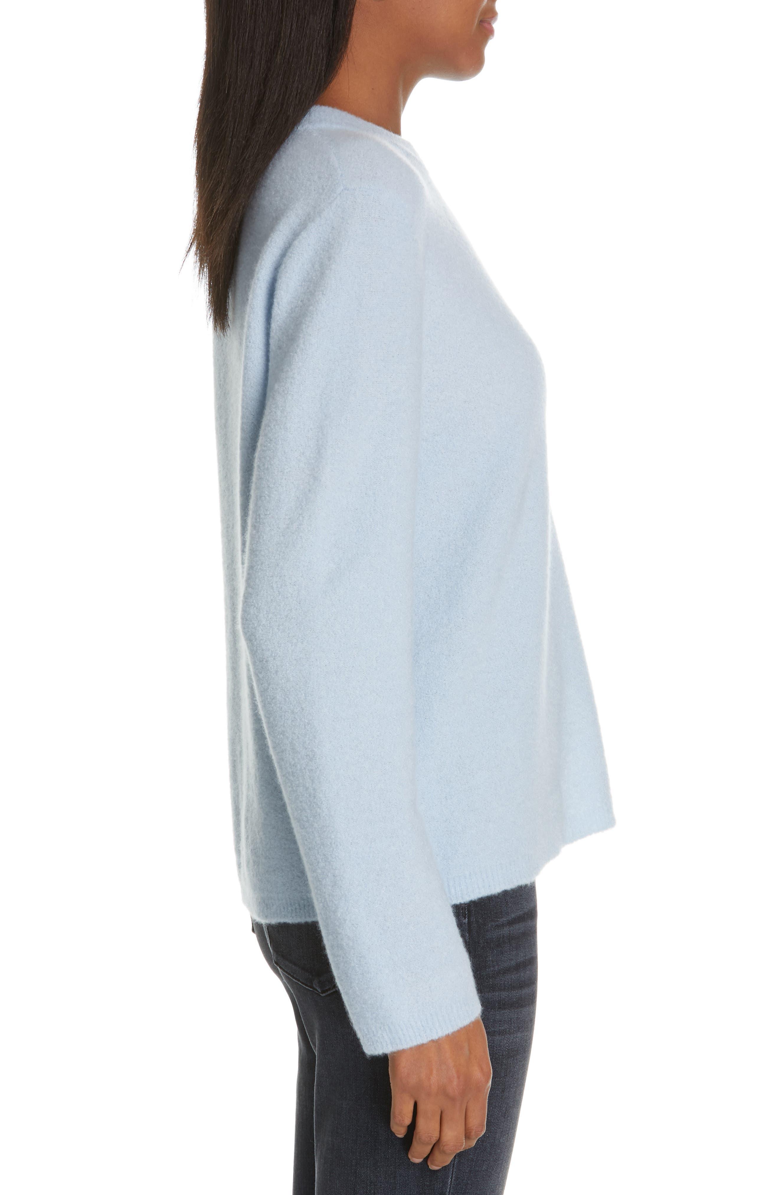 NORDSTROM SIGNATURE, Cashmere Blend Bouclé Sweater, Alternate thumbnail 3, color, BLUE CASHMERE