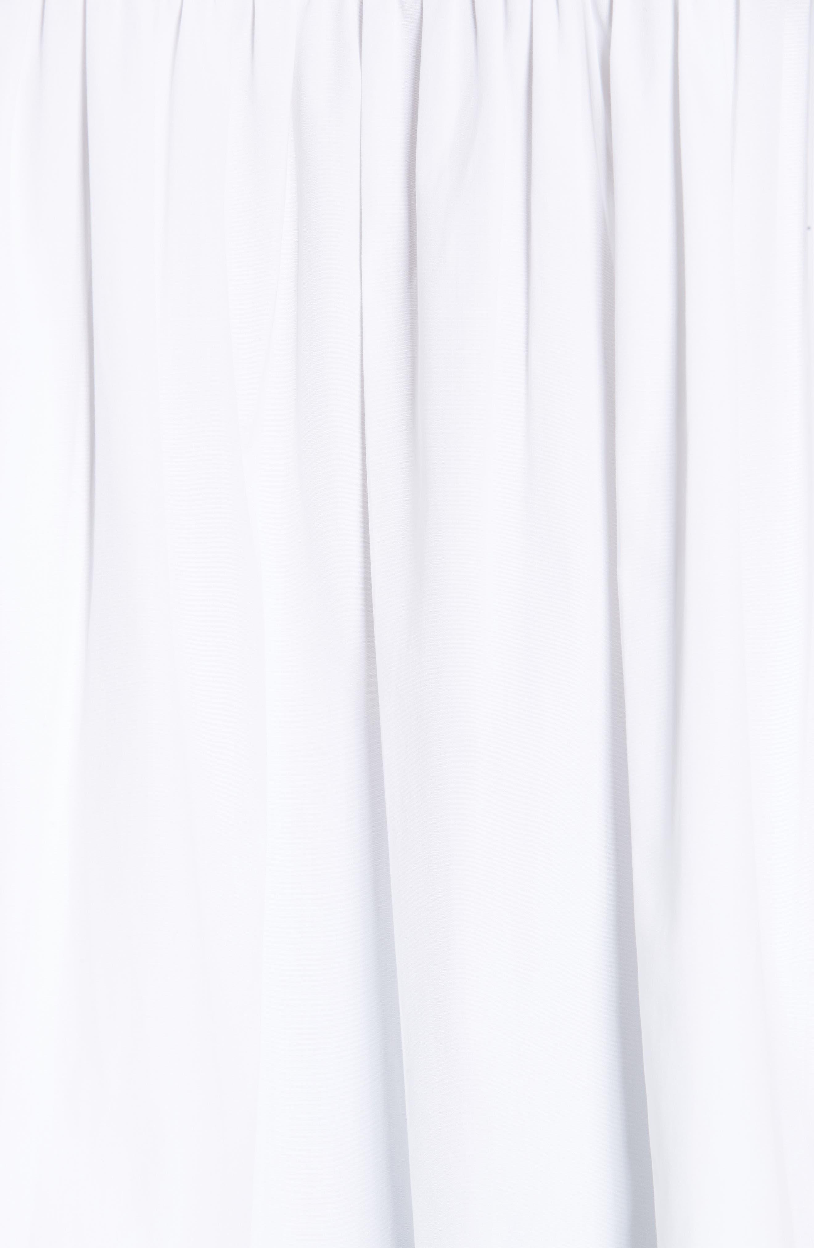 CALVIN KLEIN 205W39NYC, Sash Detail Cotton Poplin Top, Alternate thumbnail 6, color, OPTIC WHITE