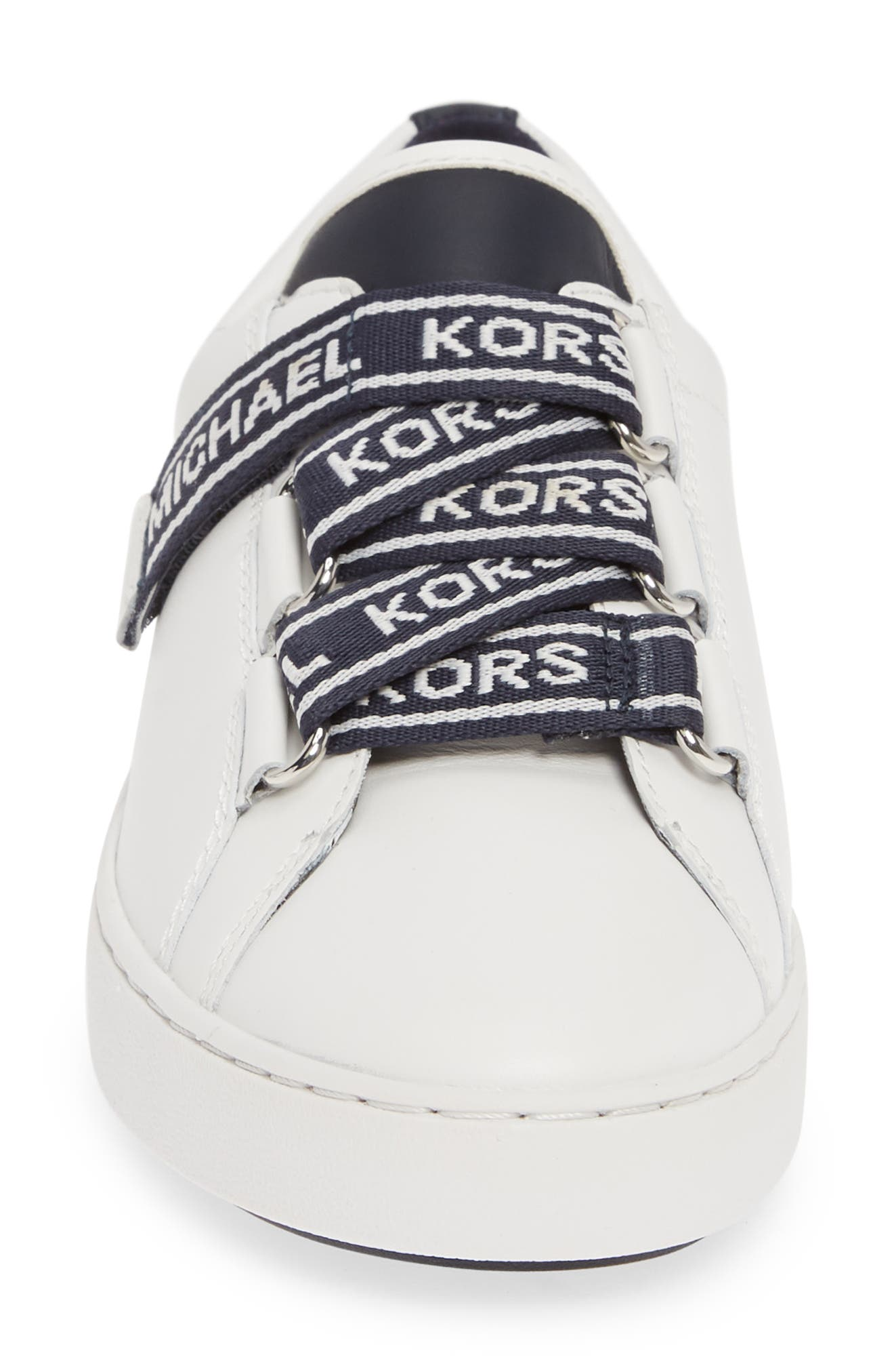 MICHAEL MICHAEL KORS, Casey Low Top Sneaker, Alternate thumbnail 4, color, ADMIRAL/ WHITE