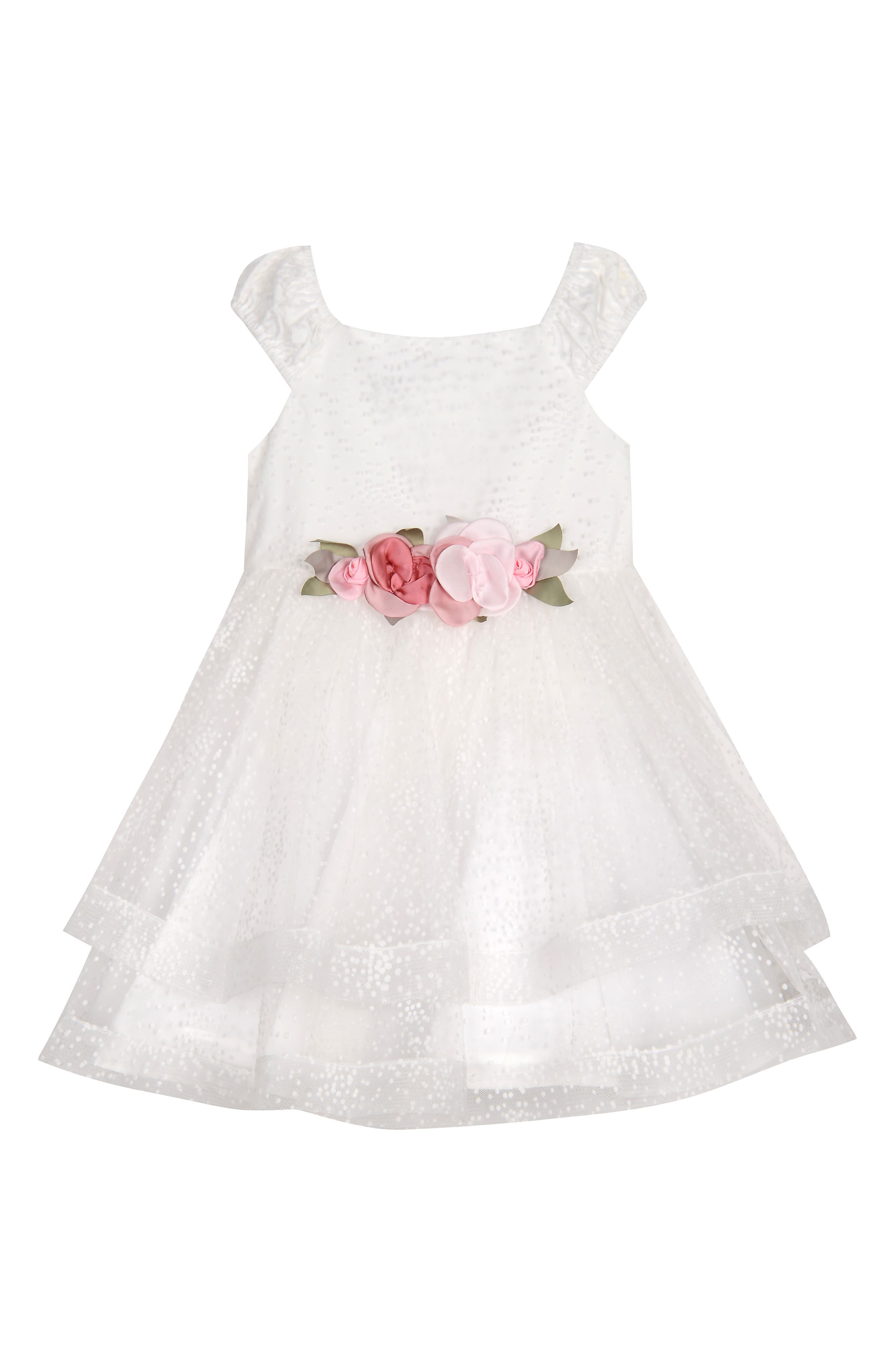 PIPPA & JULIE, Dot Texture Flower Girl Dress, Main thumbnail 1, color, WHITE