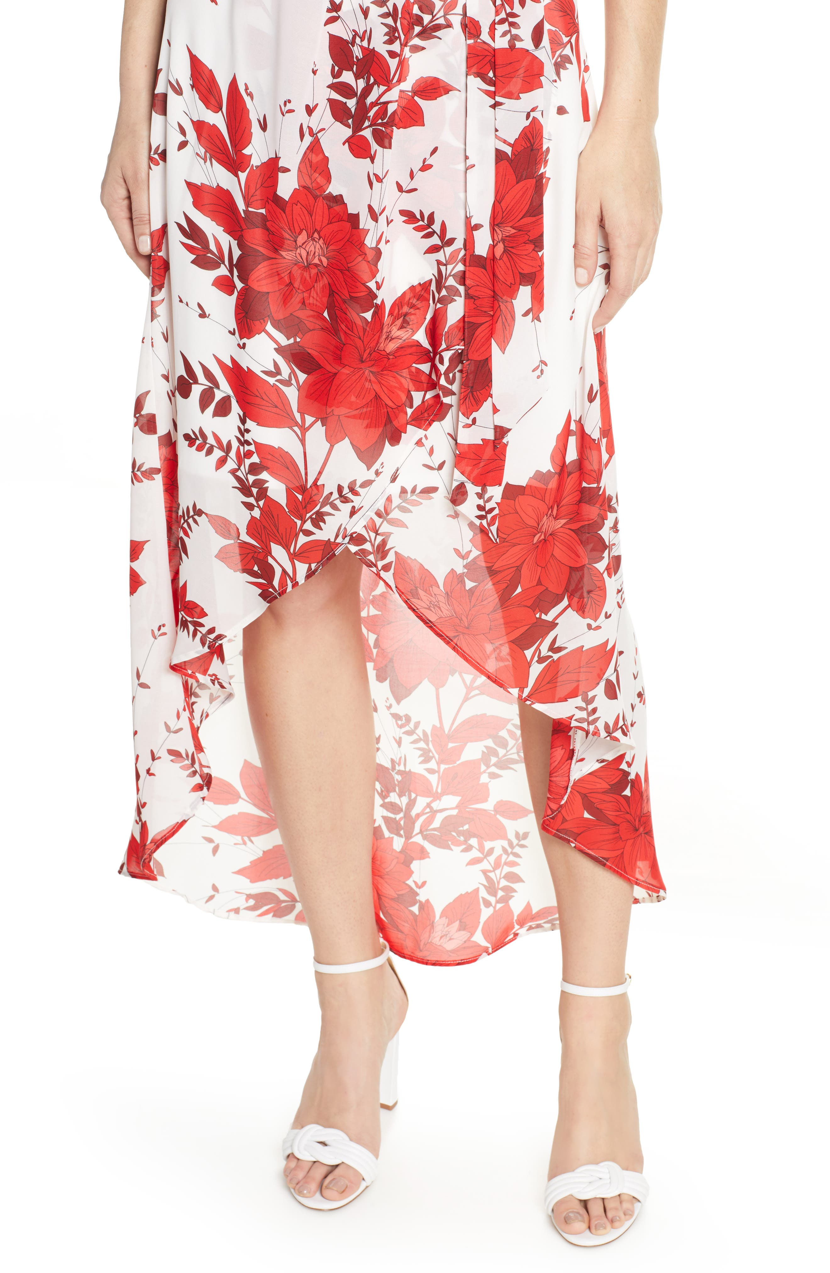 JULIA JORDAN, High/Low Floral Wrap Dress, Alternate thumbnail 5, color, IVORY/ RED