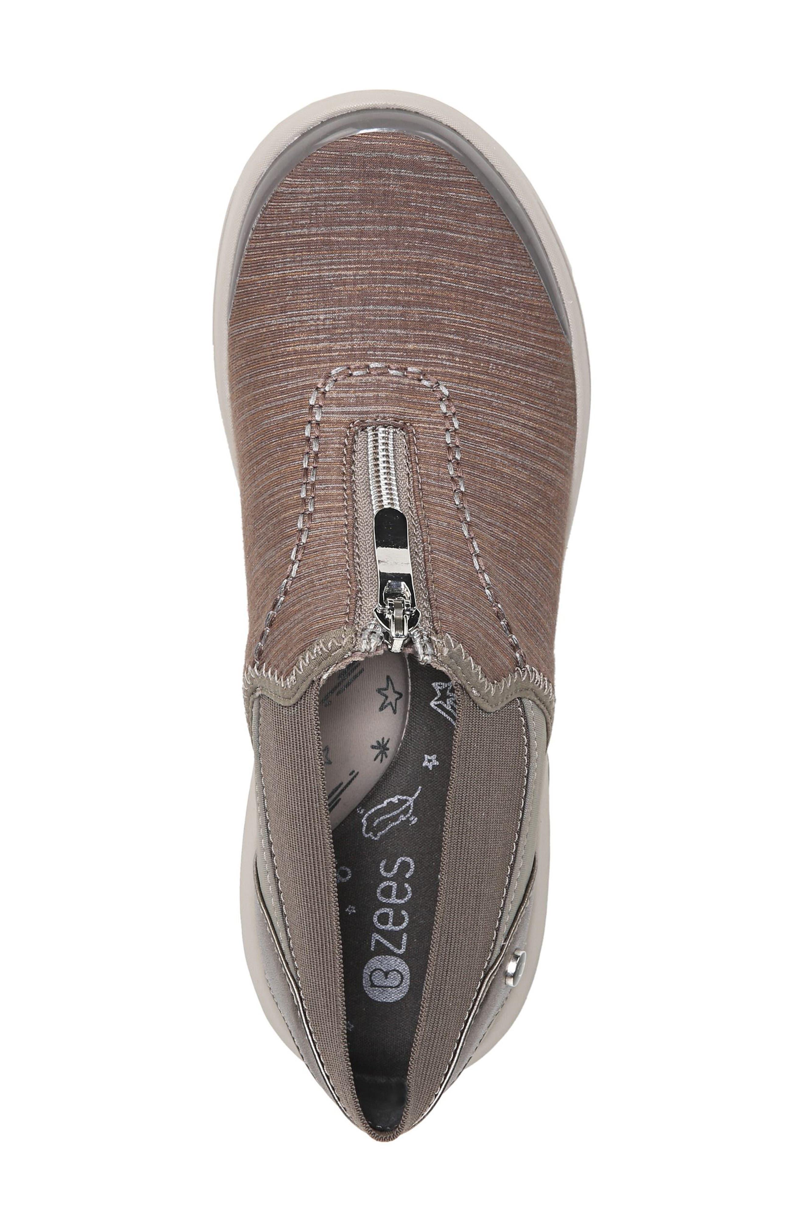 BZEES, Fling Wedge Sneaker, Alternate thumbnail 5, color, BROWN FABRIC