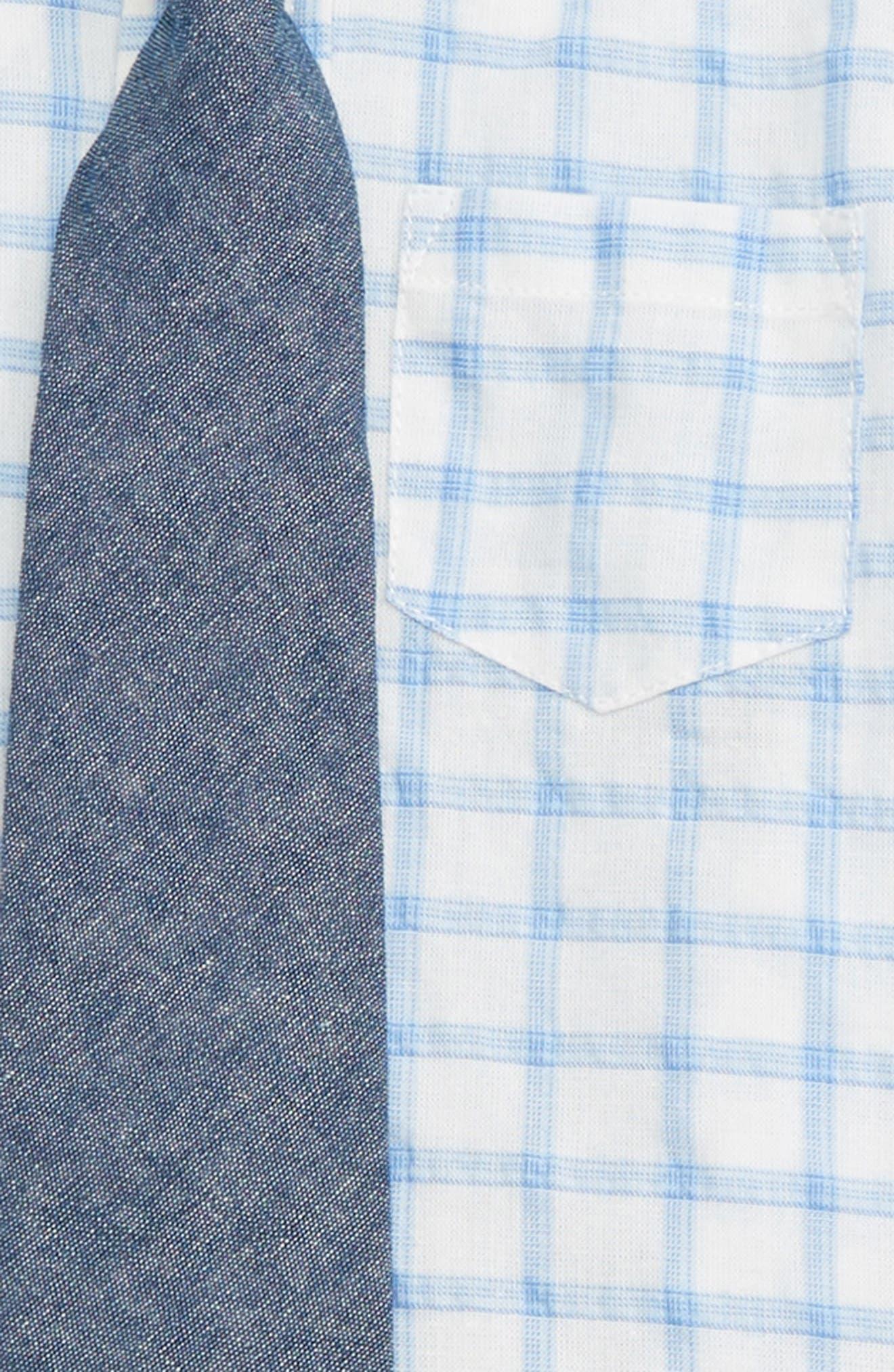 LITTLE ME, Tattersall Plaid Shirt, Pants & Tie Set, Alternate thumbnail 2, color, 250
