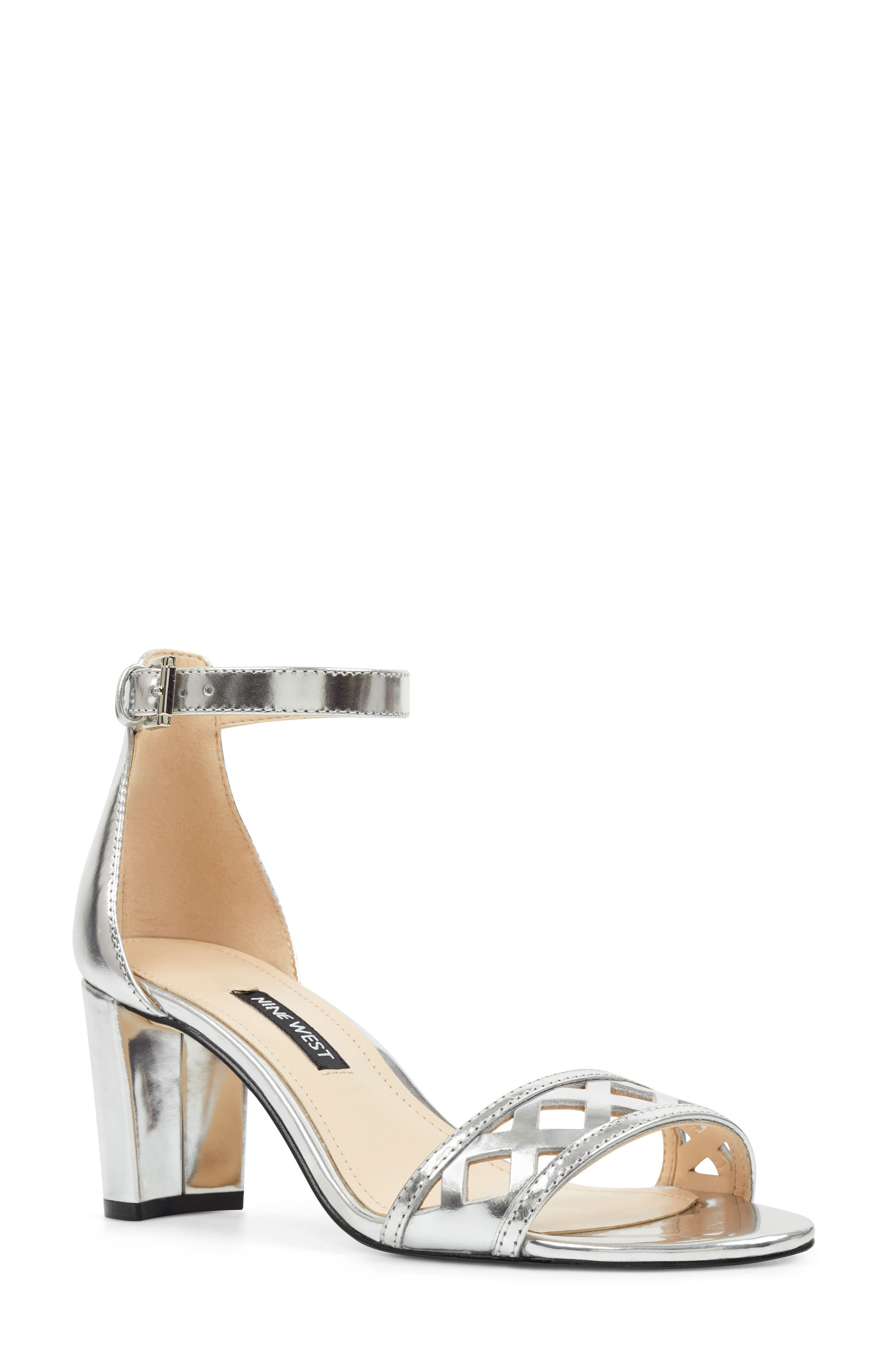Nine West Paisley Perforated Ankle Strap Sandal, Metallic