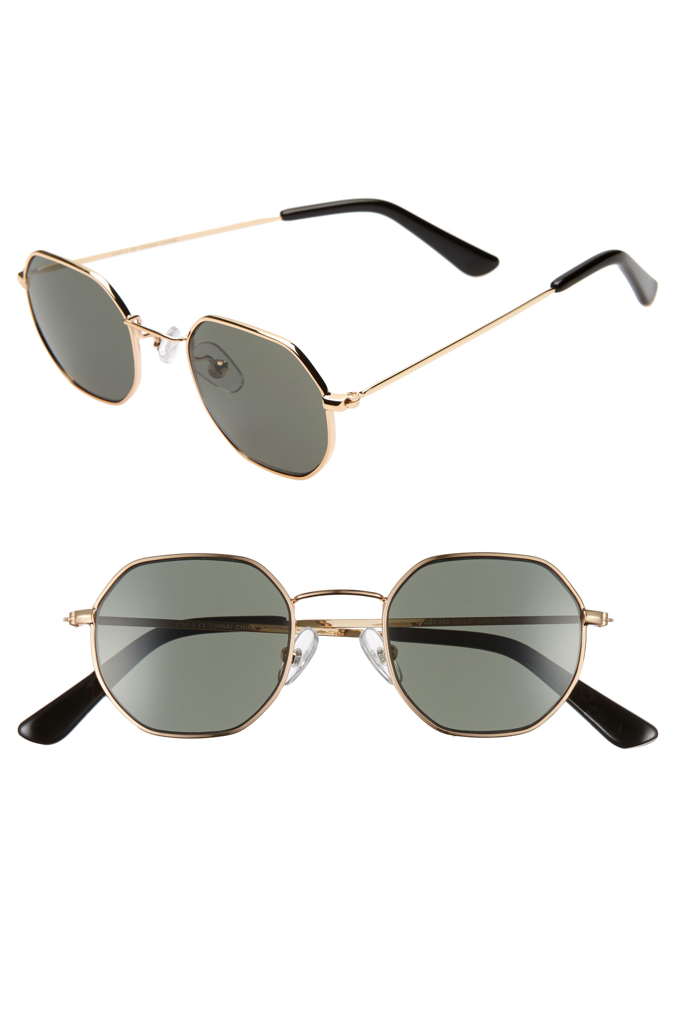 THE RAIL, Gino 45mm Round Sunglasses, Main thumbnail 1, color, GOLD/ GREEN
