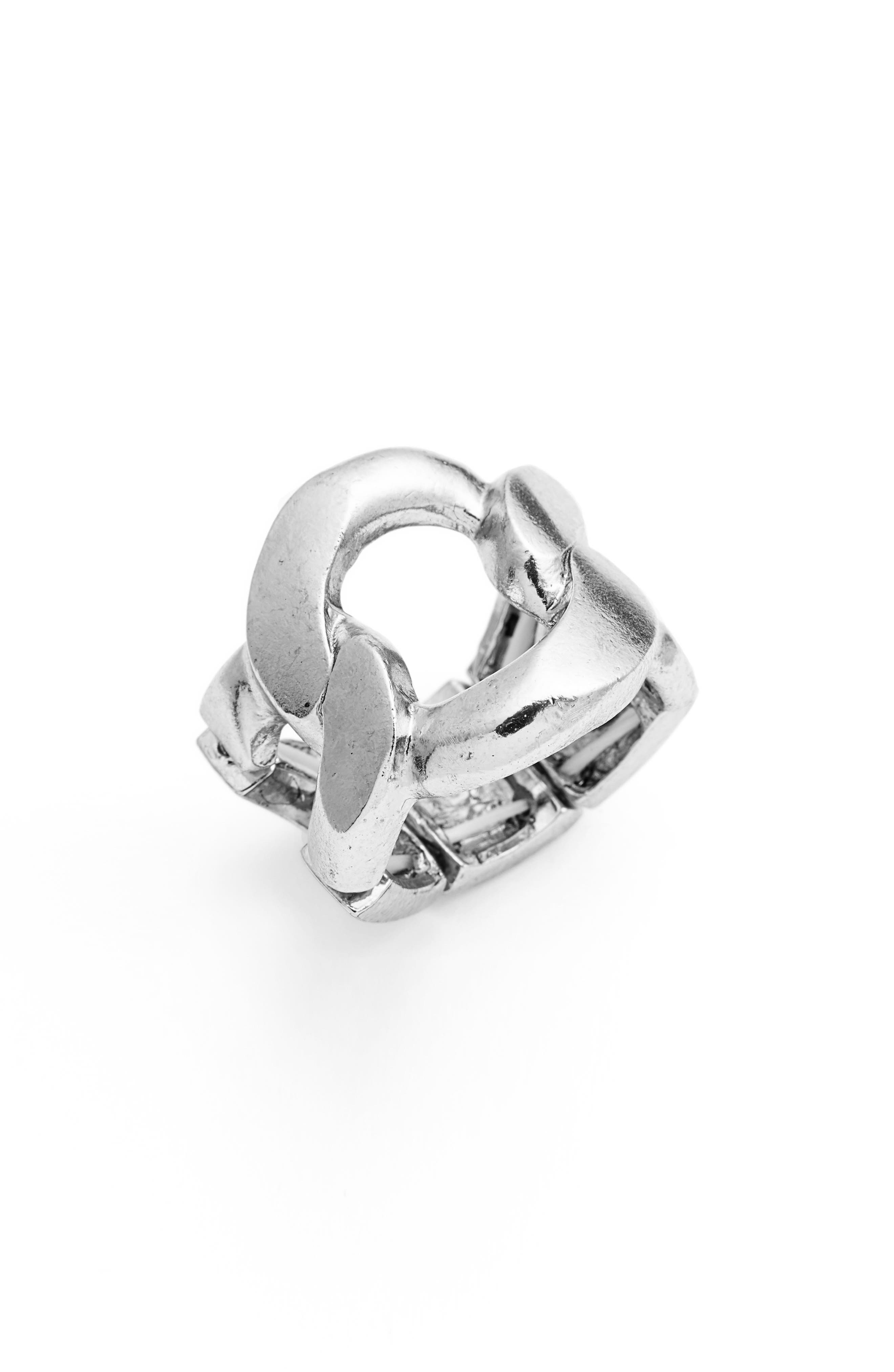 KARINE SULTAN, Adjustable Ring, Main thumbnail 1, color, SILVER